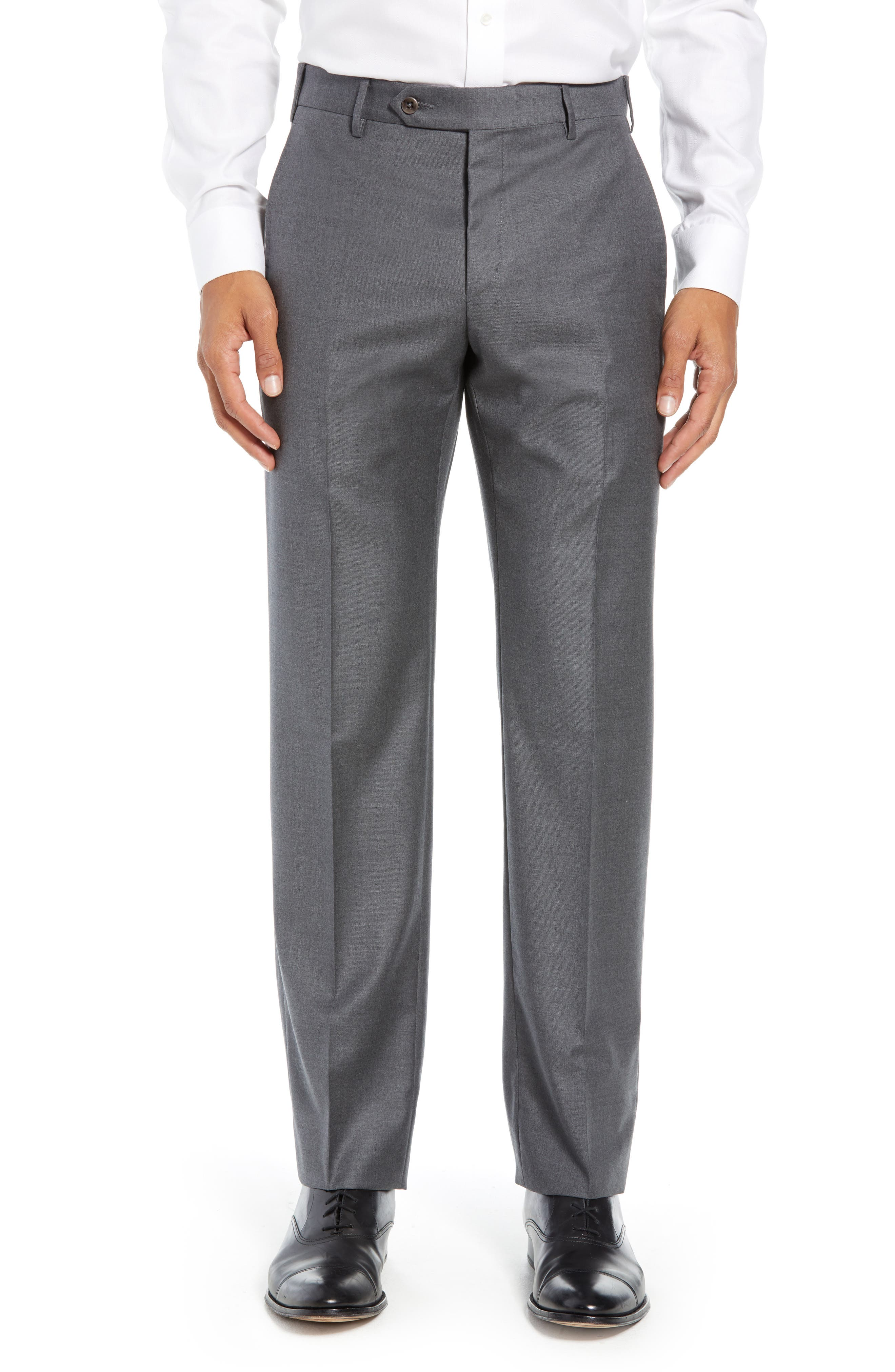 ZANELLA Parker Flat Front Solid Wool Trousers in Mid Grey