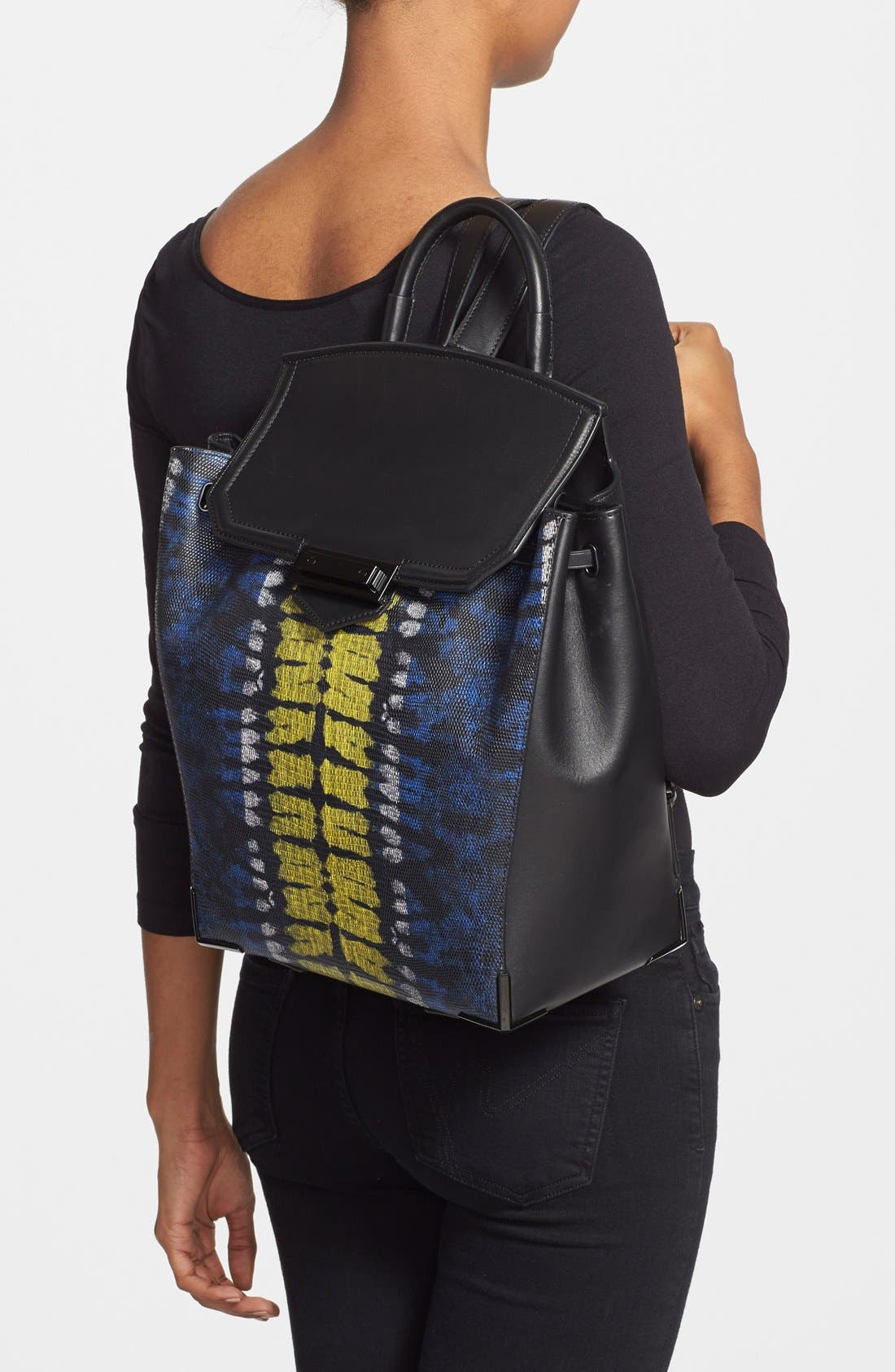 'Prisma' Lizard Embossed Backpack,                             Alternate thumbnail 2, color,
