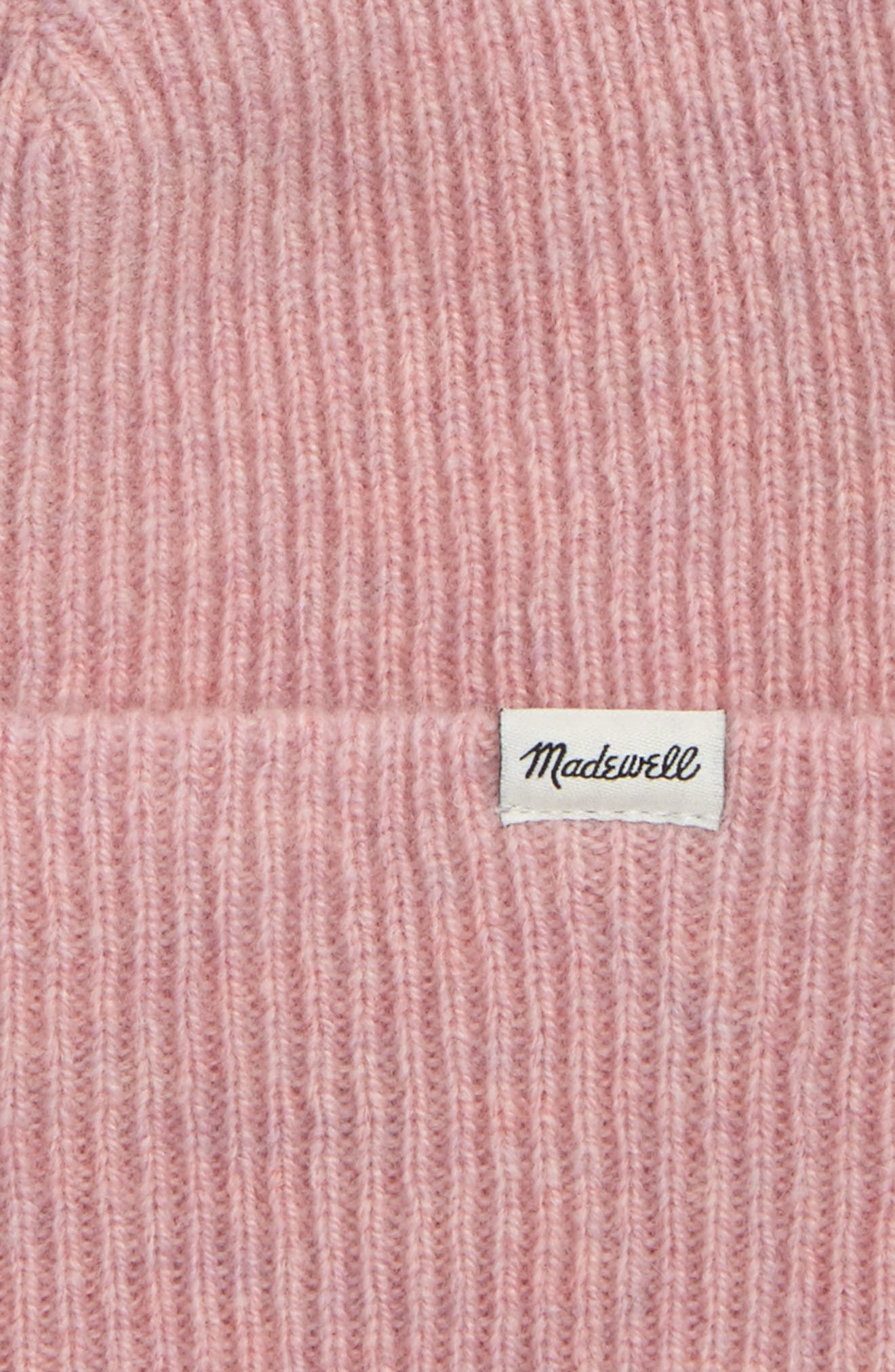 Cuffed Wool Beanie,                             Alternate thumbnail 2, color,                             HEATHER CORAL
