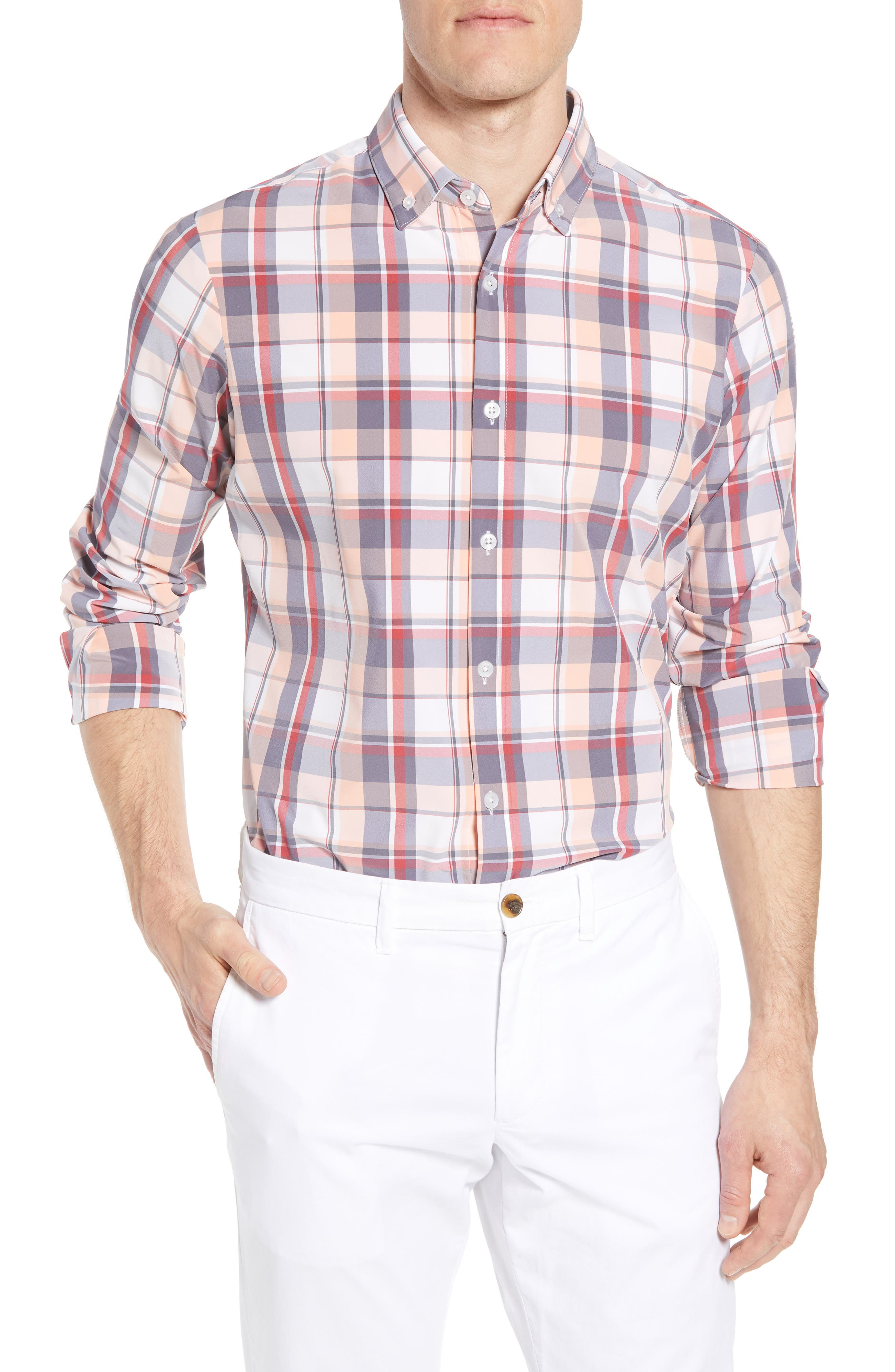 Brazos Slim Fit Madras Plaid Performance Sport Shirt,                         Main,                         color, PEACH