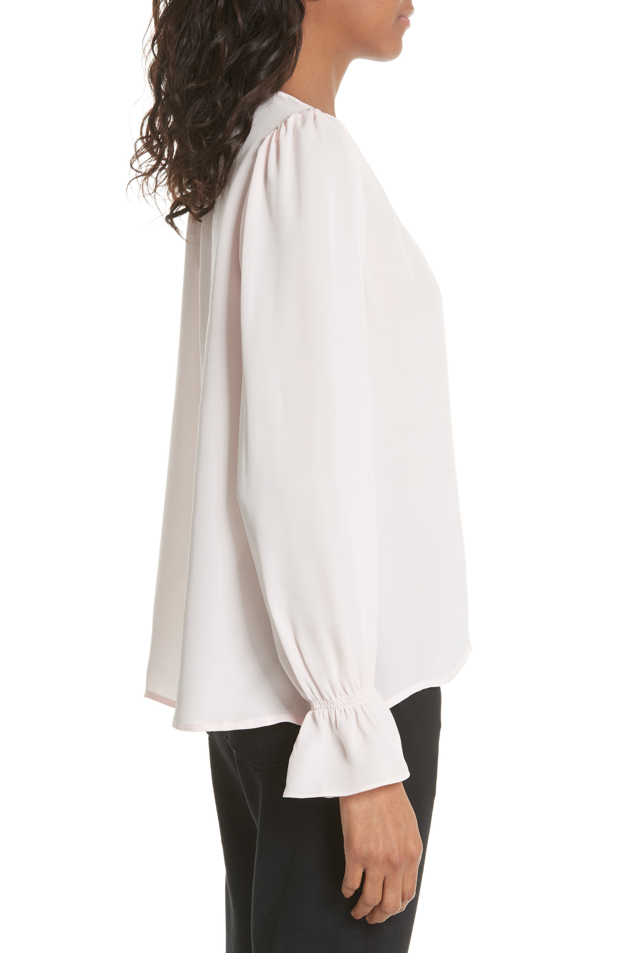 Bolona Silk Gathered Sleeve Top,                             Alternate thumbnail 3, color,                             ROSEWATER