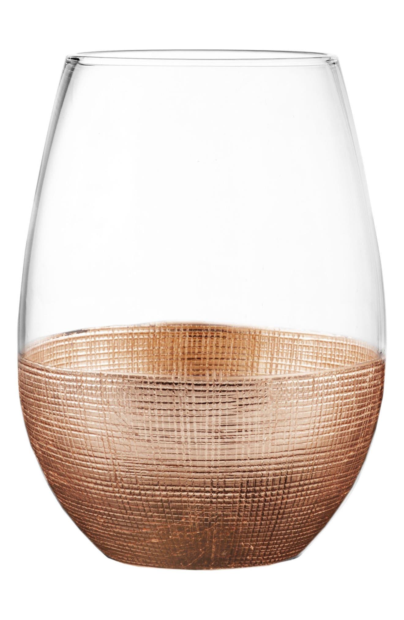 Linen Set of 4 Stemless Wine Glasses,                             Alternate thumbnail 2, color,                             COPPER