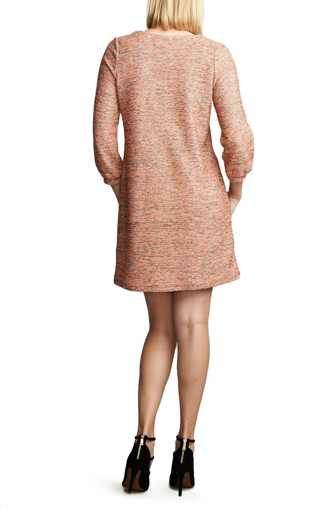 Shift Maternity Dress,                             Alternate thumbnail 2, color,                             PINK BOUCLE
