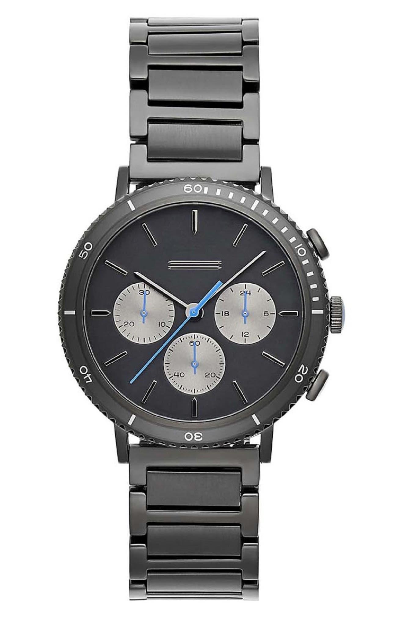 Griffith Chronograph Bracelet Watch, 43mm,                             Main thumbnail 1, color,                             BLACK