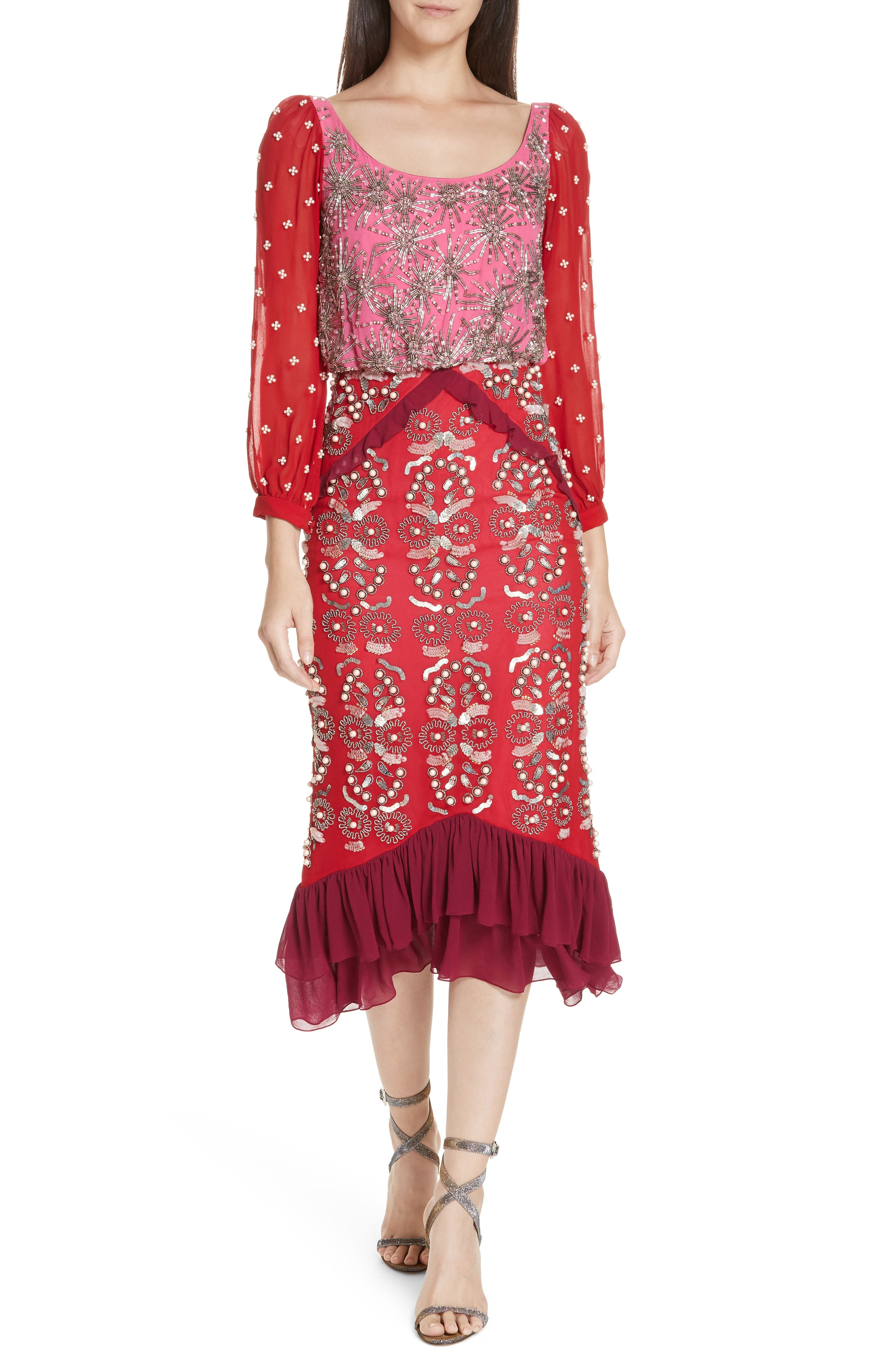 SALONI,                             Isa Beaded Colorblock Silk Midi Dress,                             Main thumbnail 1, color,                             PINK/ CHERRY