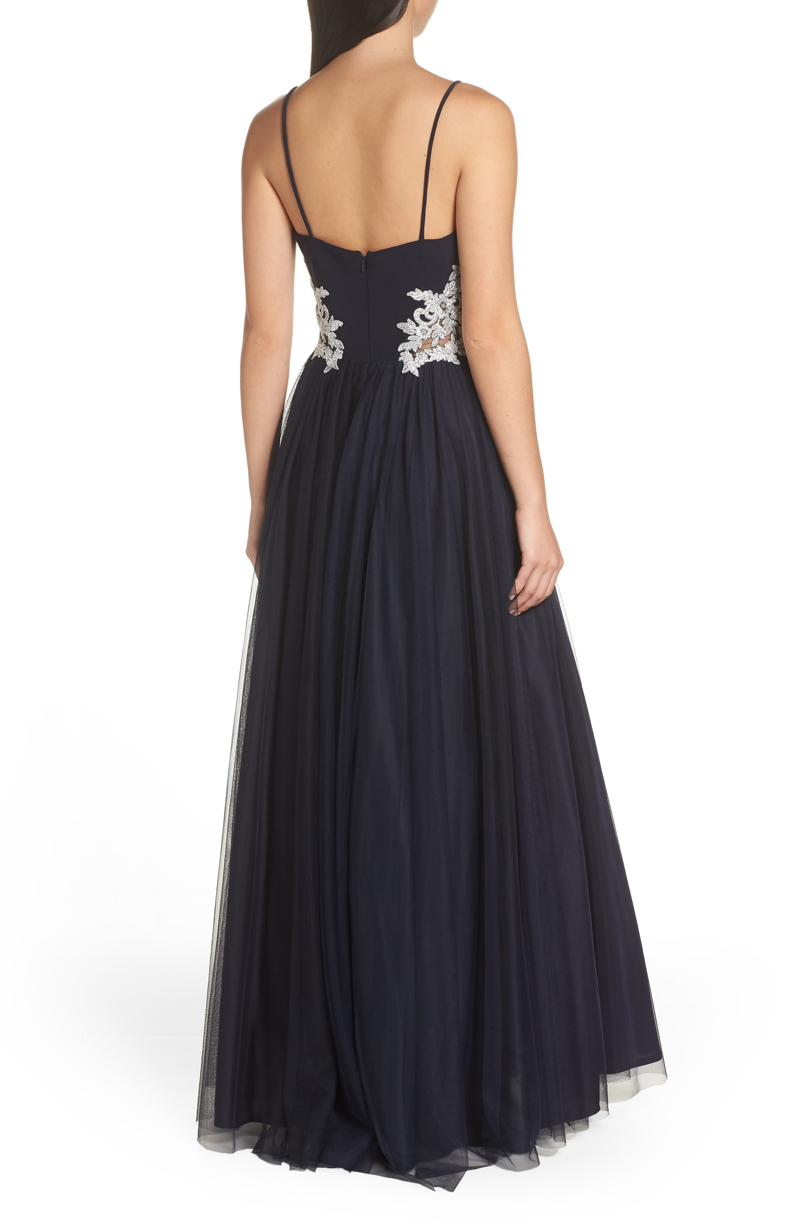 Blondie Nights Embellished Tulle Gown,                             Alternate thumbnail 2, color,                             NAVY/ SILVER