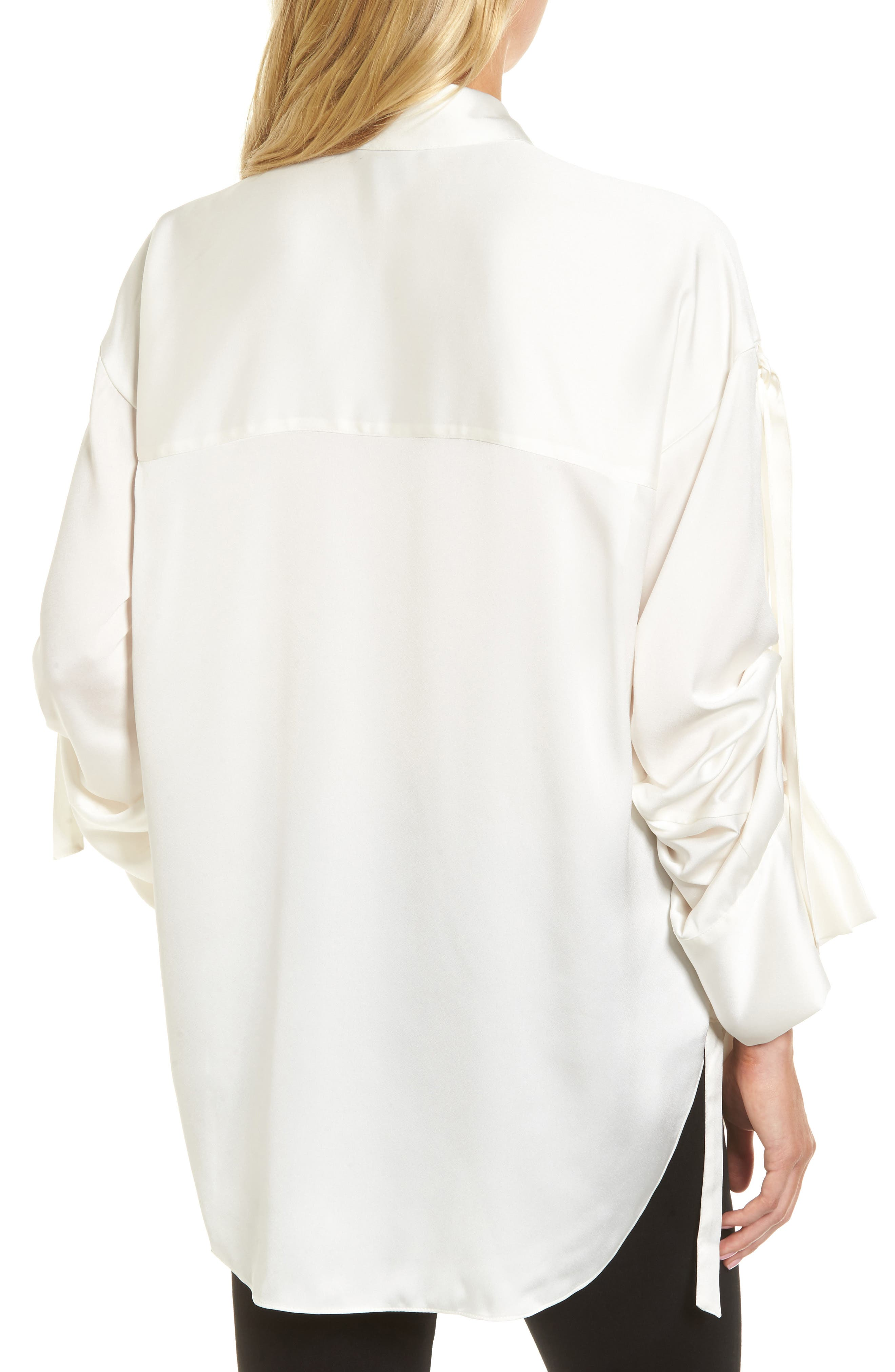 Tie Sleeve Satin Top,                             Alternate thumbnail 2, color,                             100