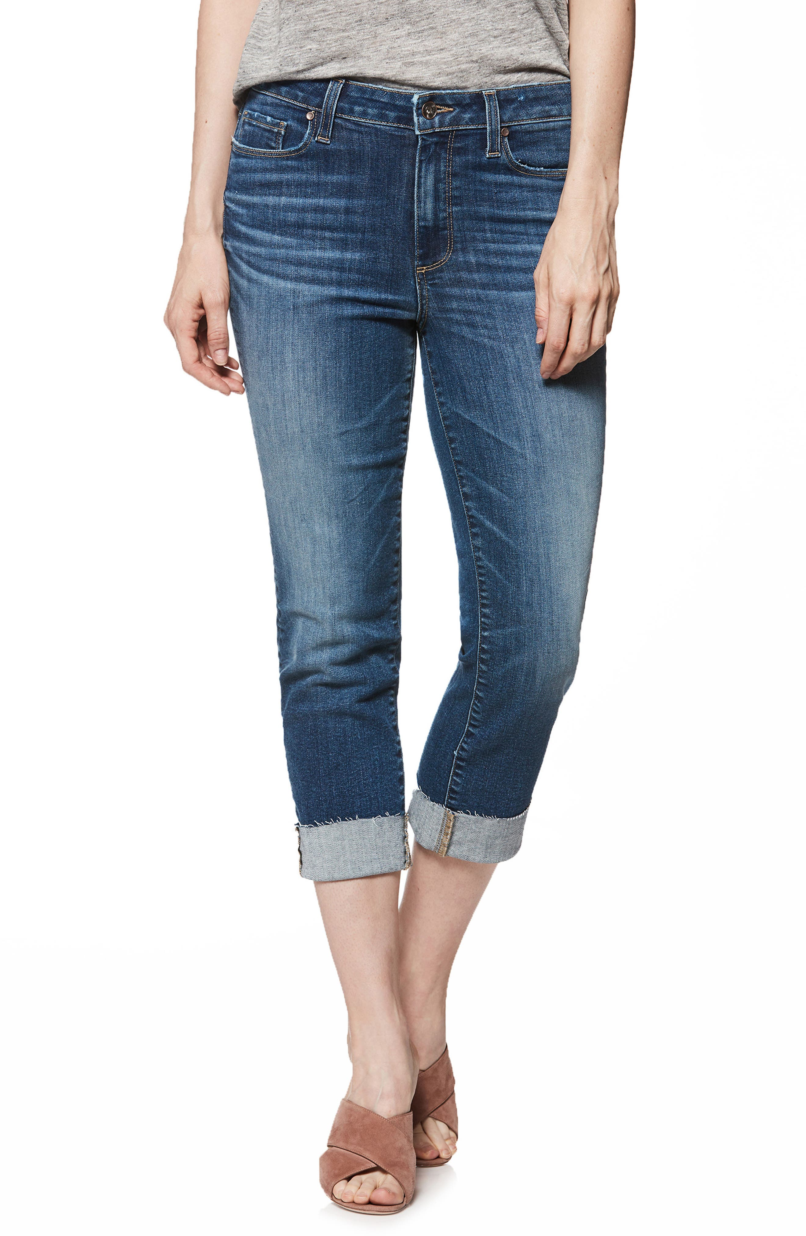 Transcend Vintage - Hoxton Cuff Ankle Skinny Jeans,                             Main thumbnail 1, color,                             400
