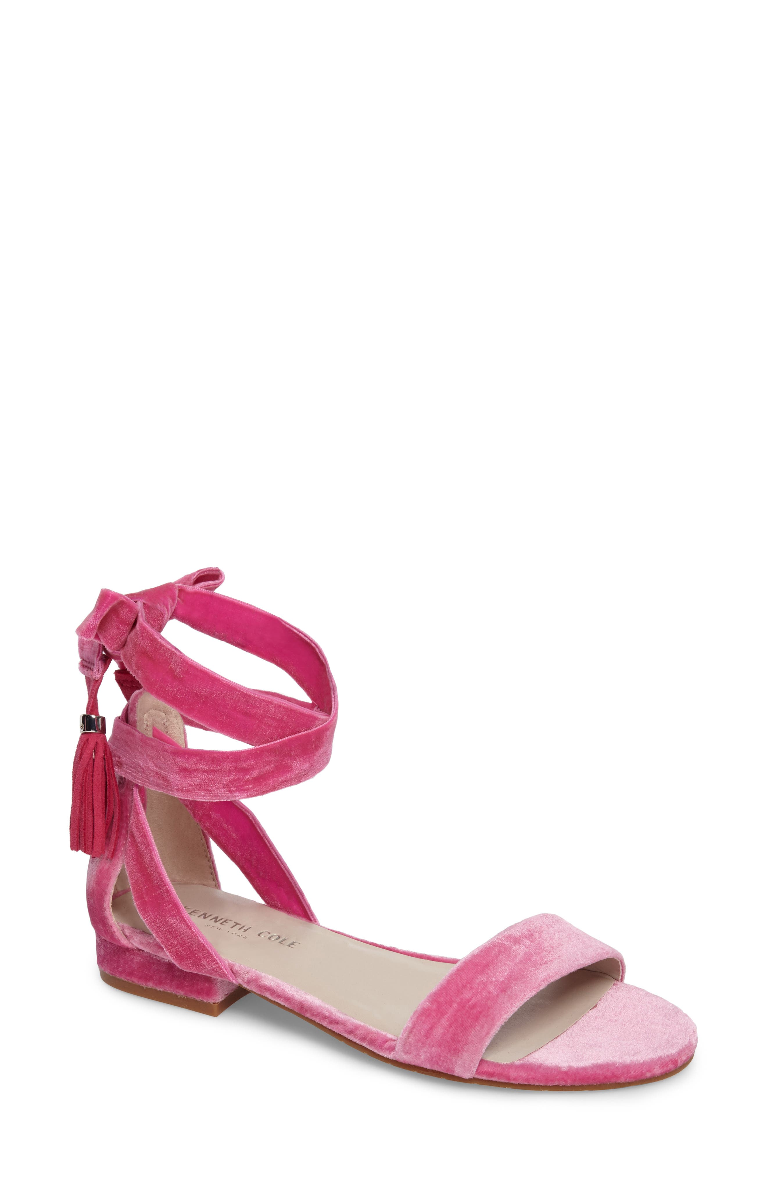 Valen Tassel Lace-Up Sandal,                             Main thumbnail 1, color,                             FUCHSIA VELVET