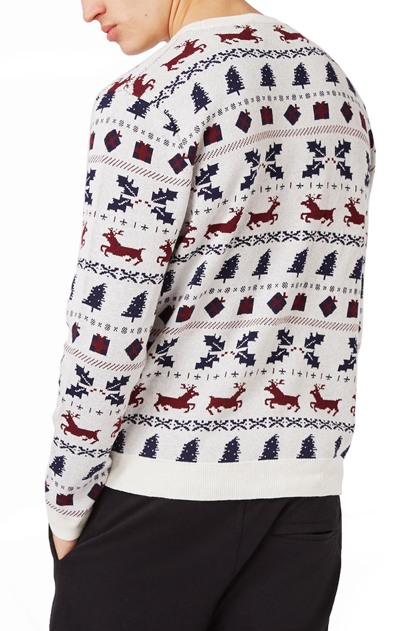 TOPMAN,                             Christmas Fair Isle Sweater,                             Alternate thumbnail 2, color,                             901