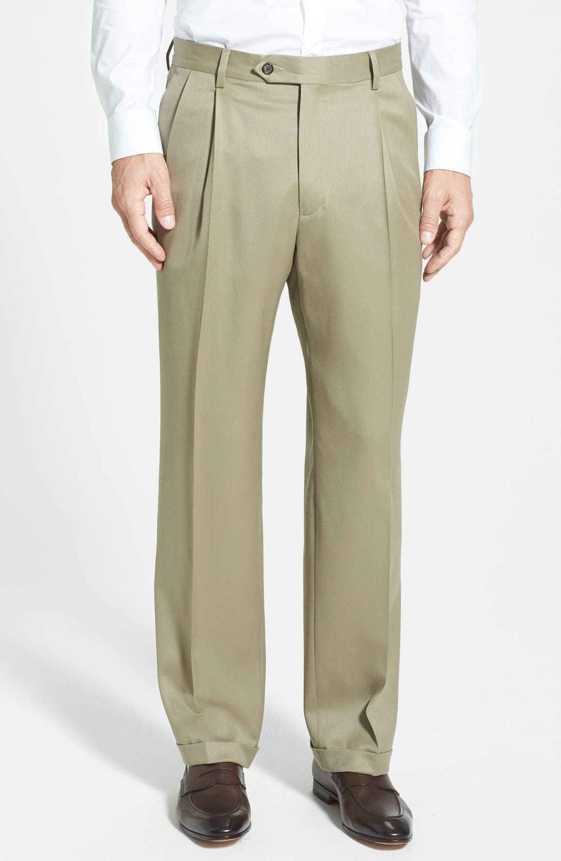 Pleated Wool Gabardine Trousers,                         Main,                         color, TAN