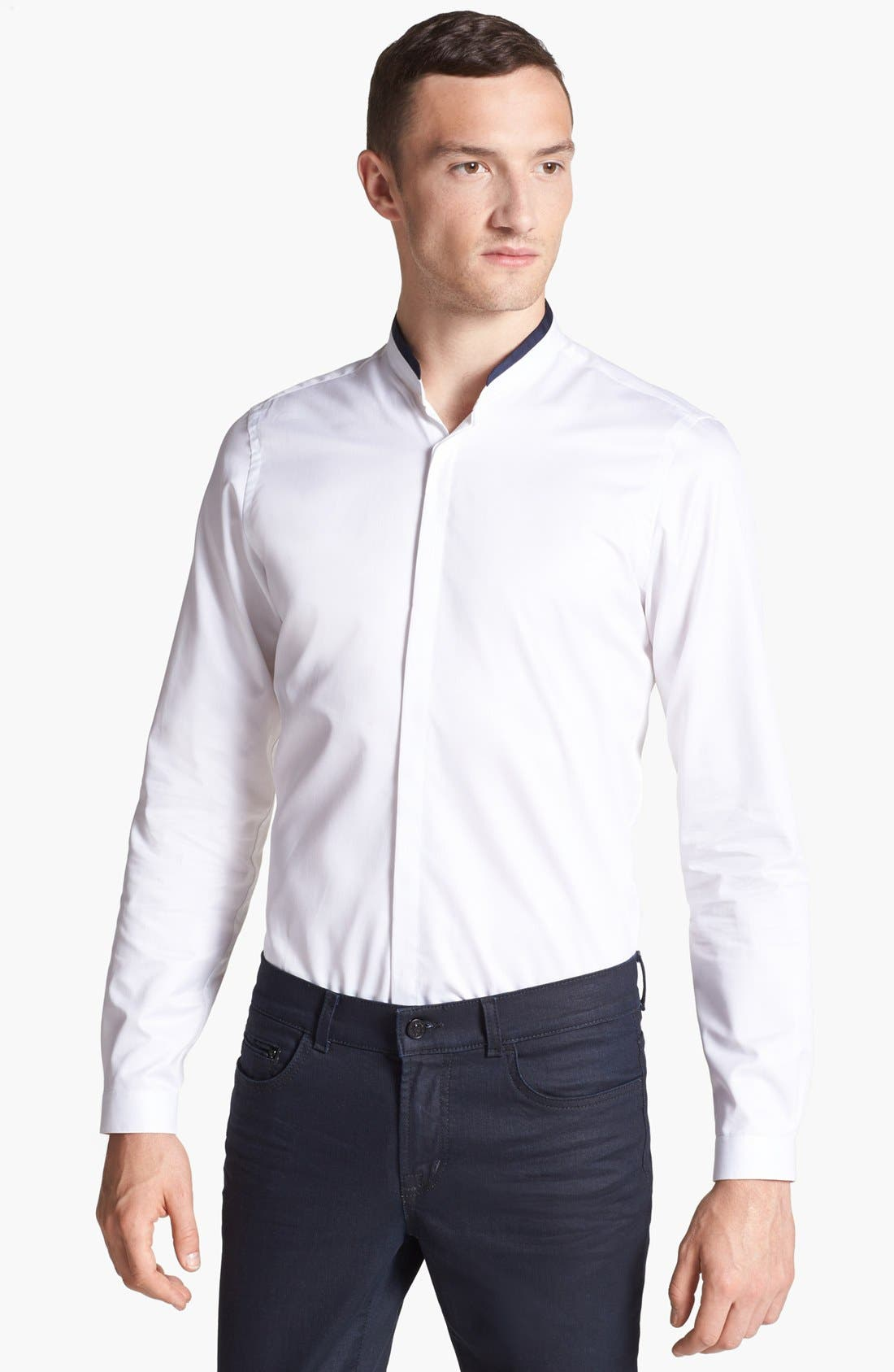 THE KOOPLES Slim Fit Banded Collar Shirt, Main, color, 100
