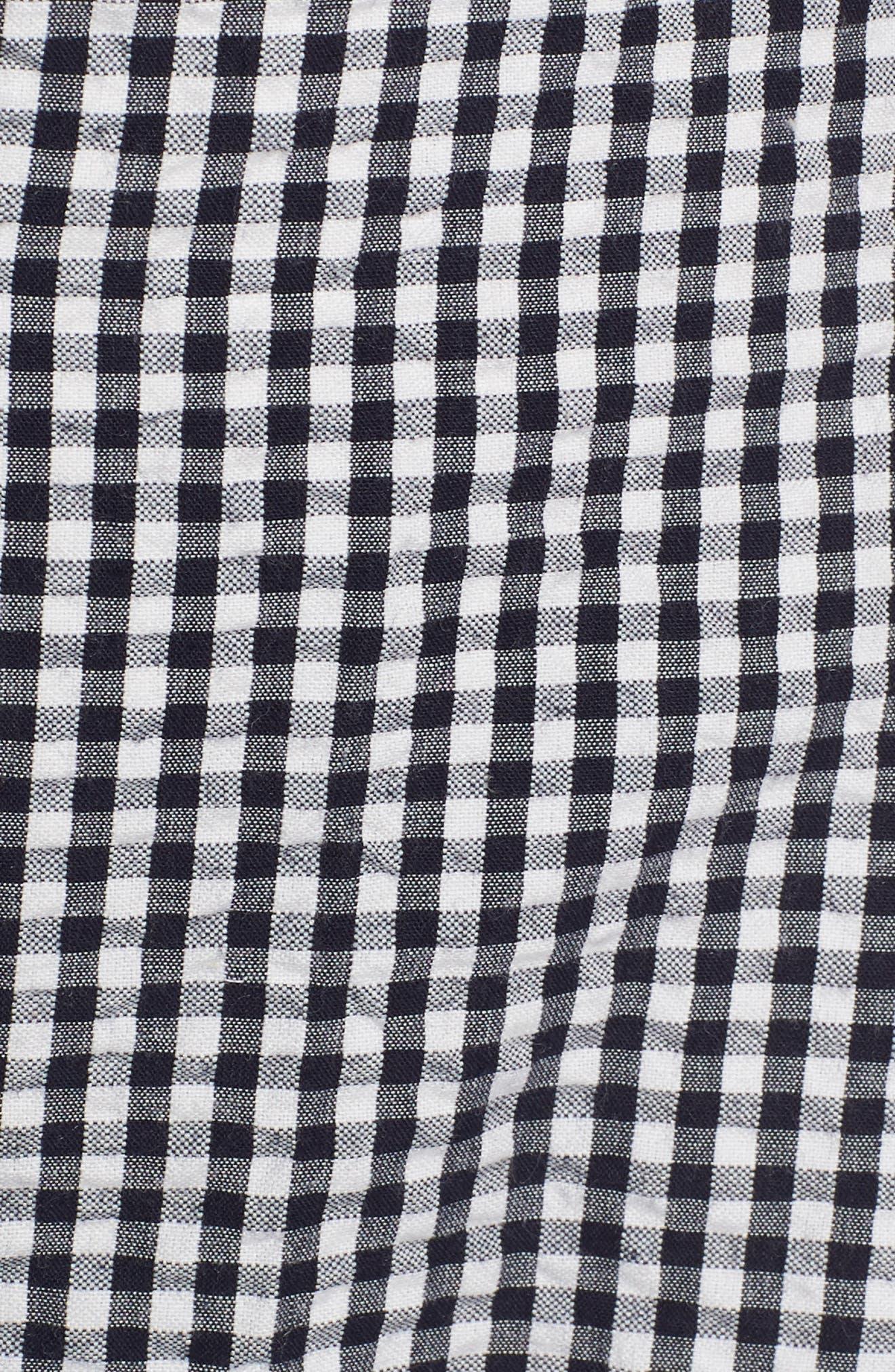 Gingham Button Front Cotton Blend Dress,                             Alternate thumbnail 6, color,                             410