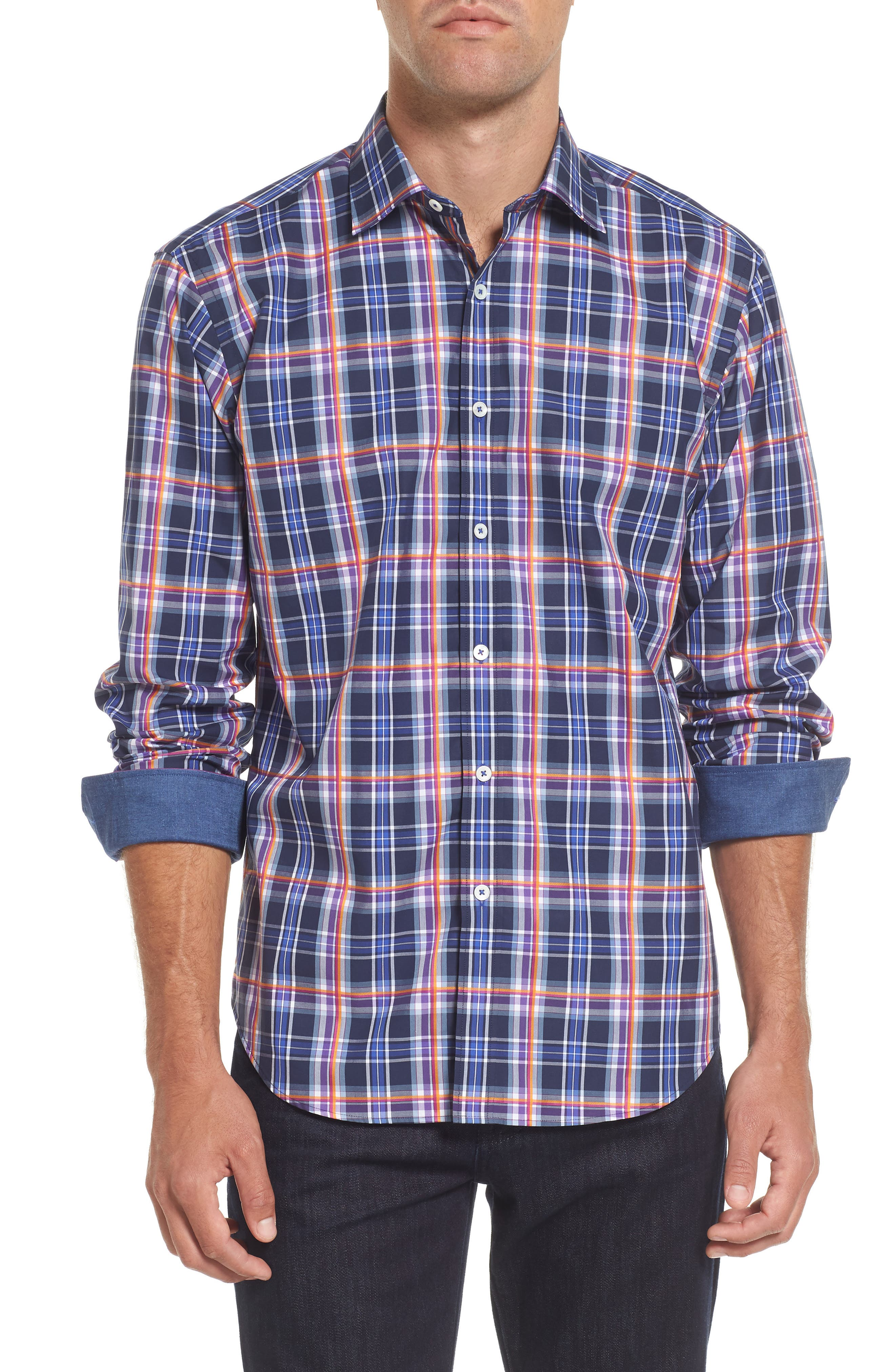 Slim Fit Madras Plaid Sport Shirt,                         Main,                         color, 411