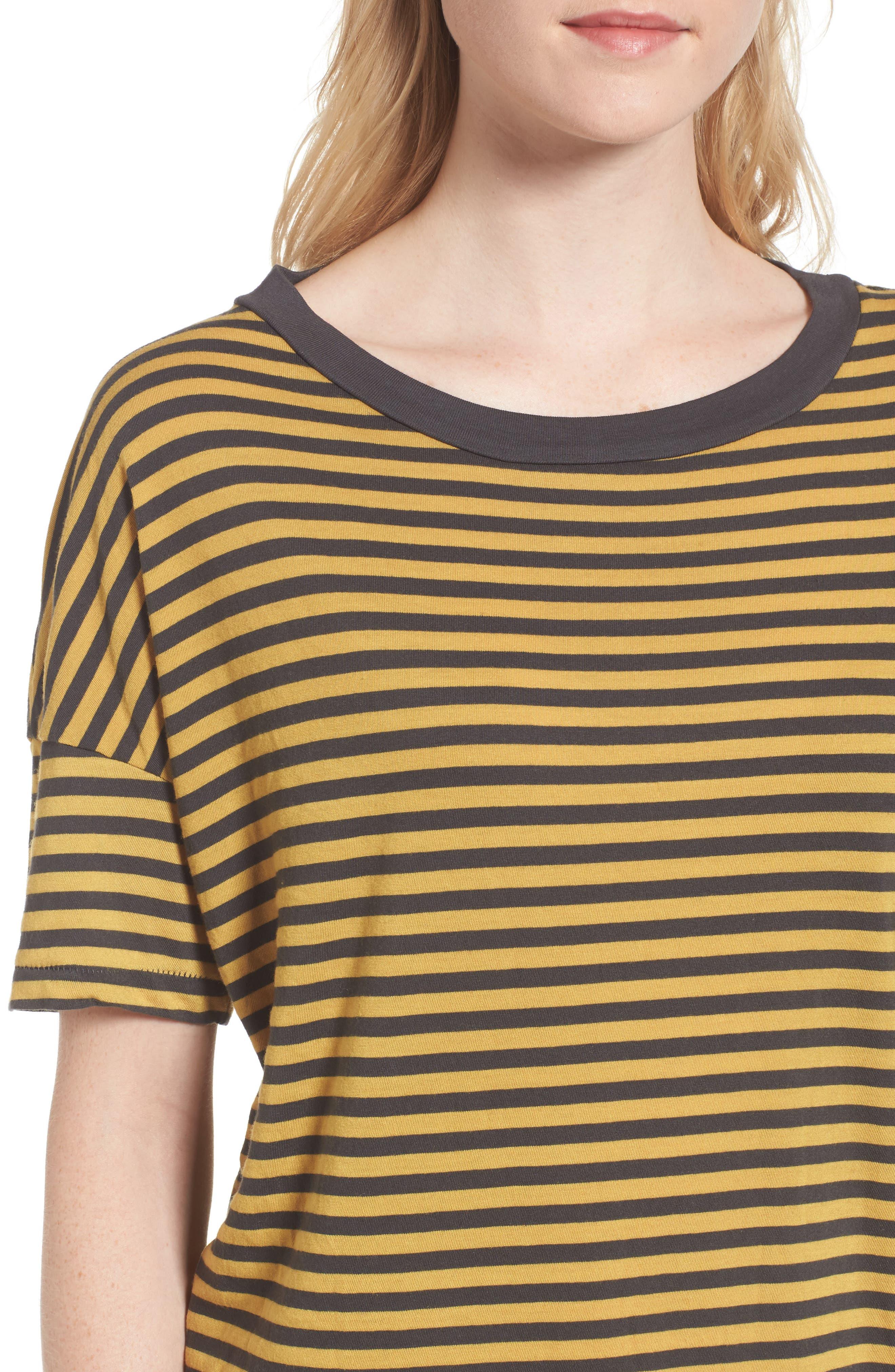 Mustard Stripe T-Shirt Dress,                             Alternate thumbnail 4, color,                             020