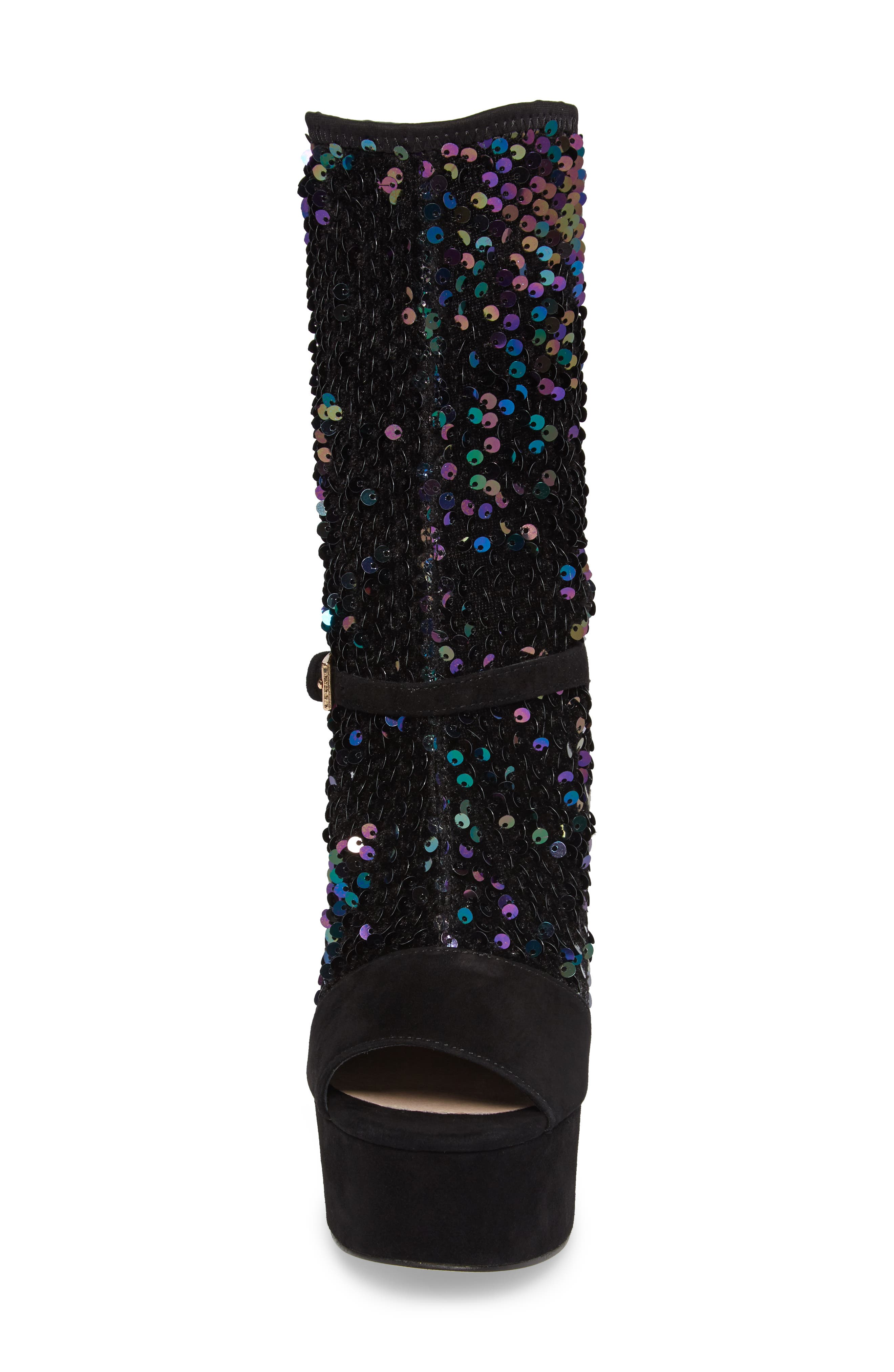 Haimi Sequin Sock Bootie,                             Alternate thumbnail 4, color,                             001