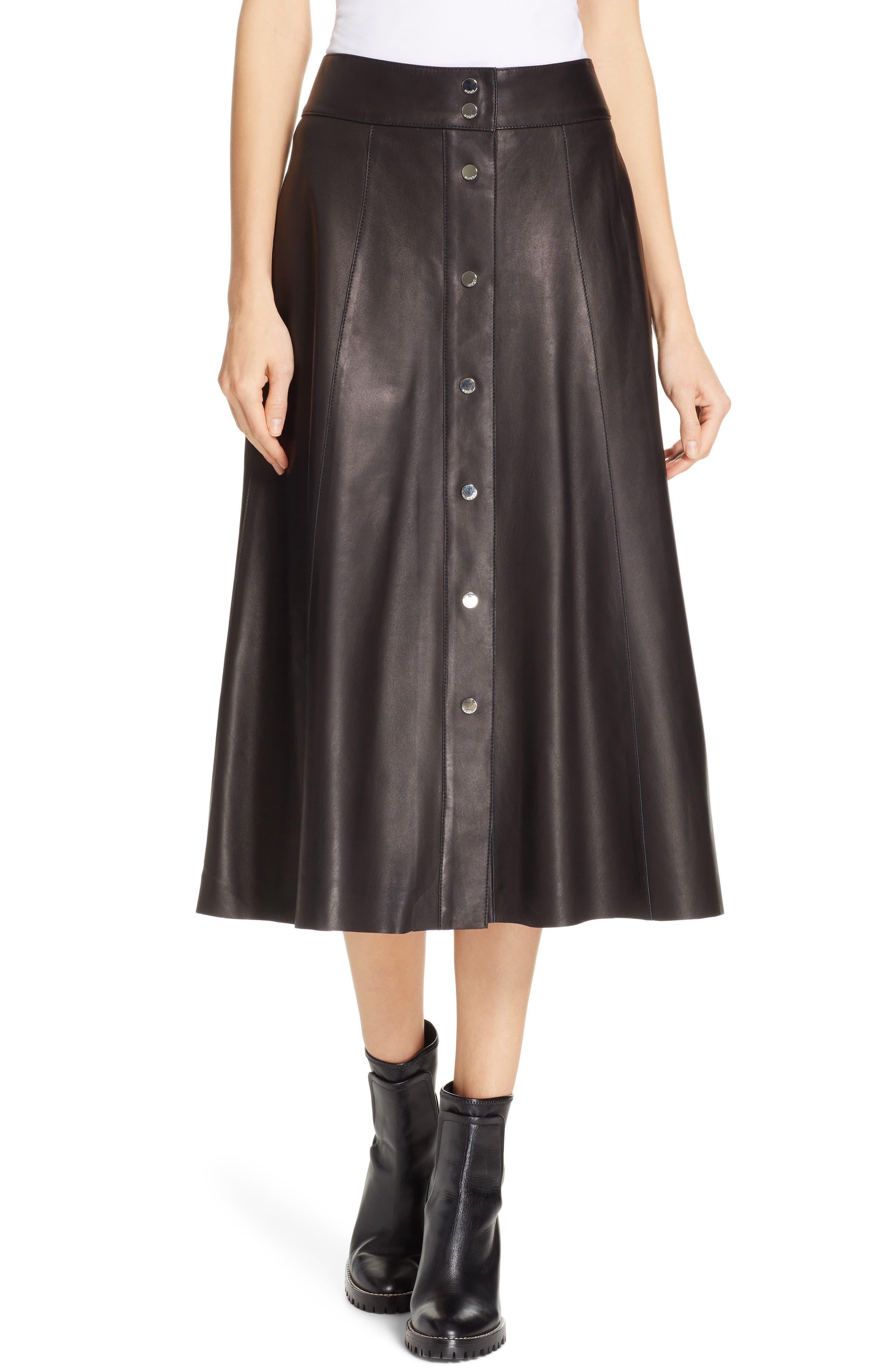 Liselli Leather Midi Skirt by Hugo