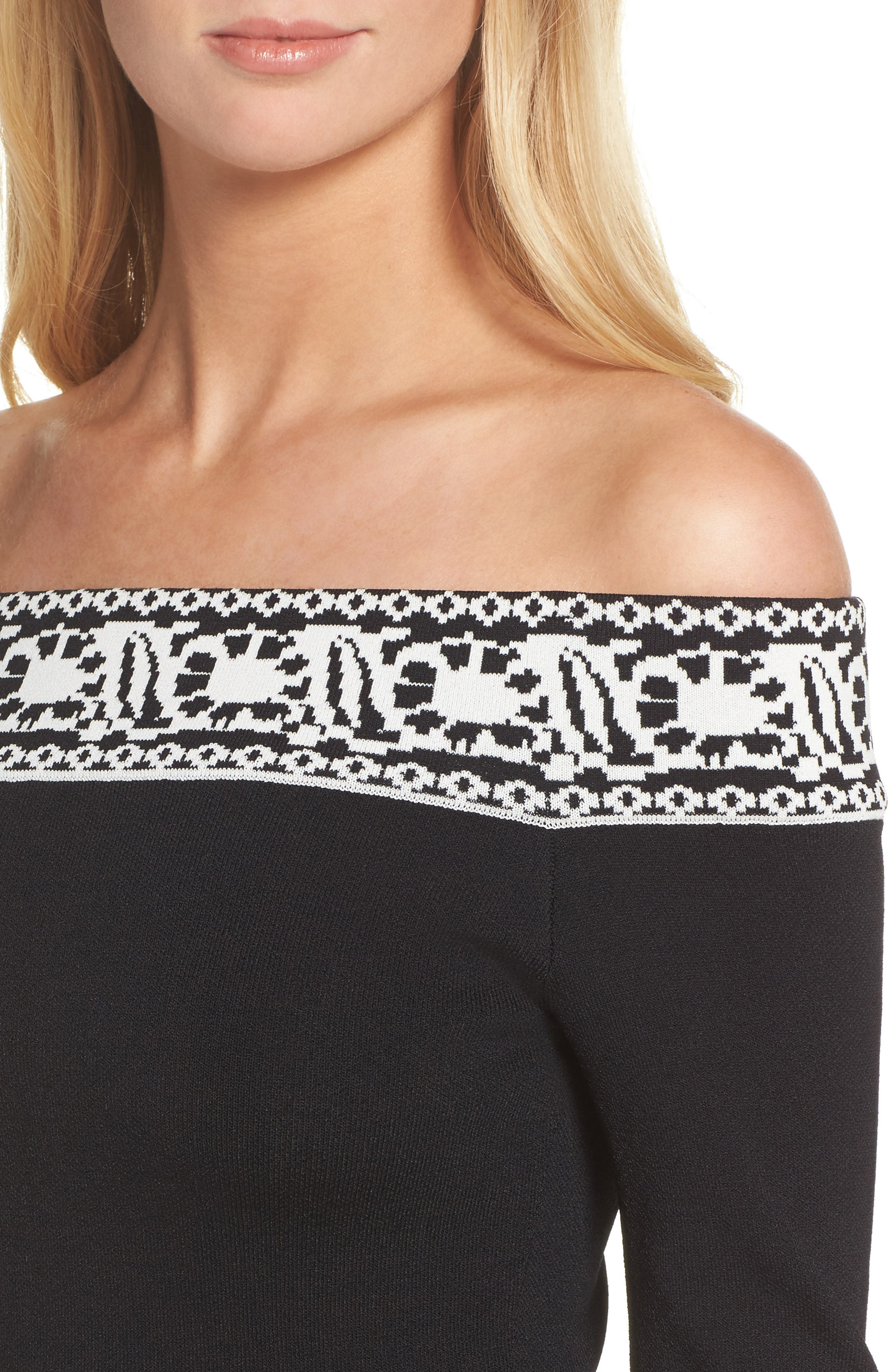 Pattern Off the Shoulder A-Line Knit Dress,                             Alternate thumbnail 4, color,                             012