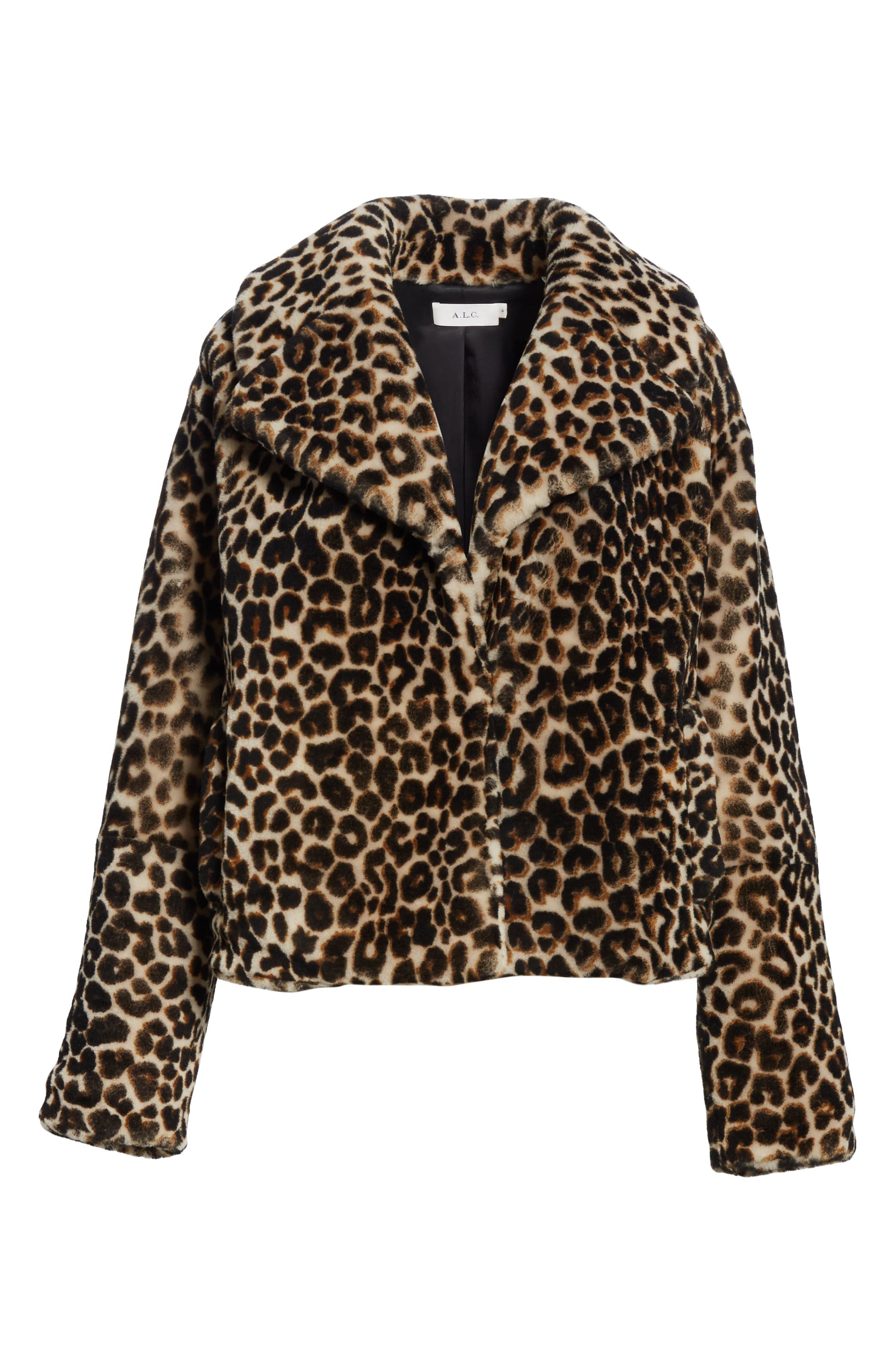 A.L.C.,                             Grant Leopard Print Genuine Shearling Jacket,                             Alternate thumbnail 5, color,                             900
