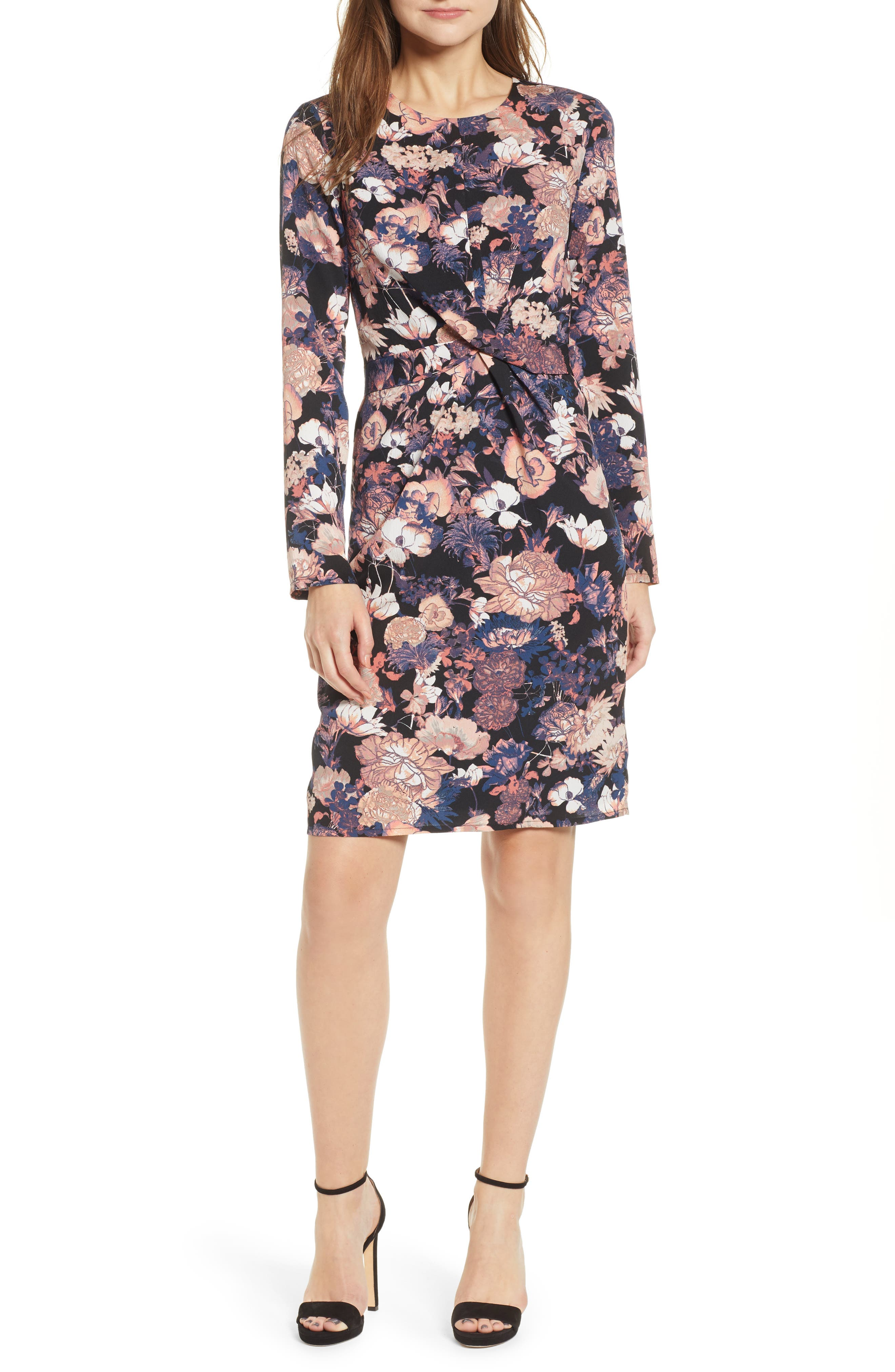 VERO MODA,                             Marlene Floral Drape Dress,                             Main thumbnail 1, color,                             BLACK PRINT