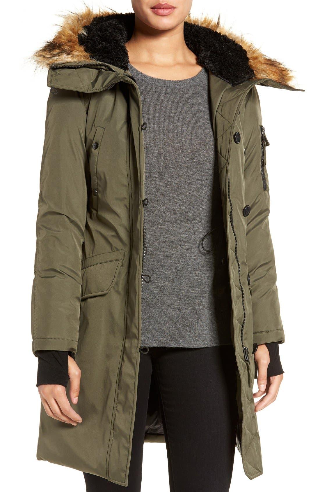 S13 'Alaska' Parka with Faux Fur Trim Hood,                         Main,                         color, 320