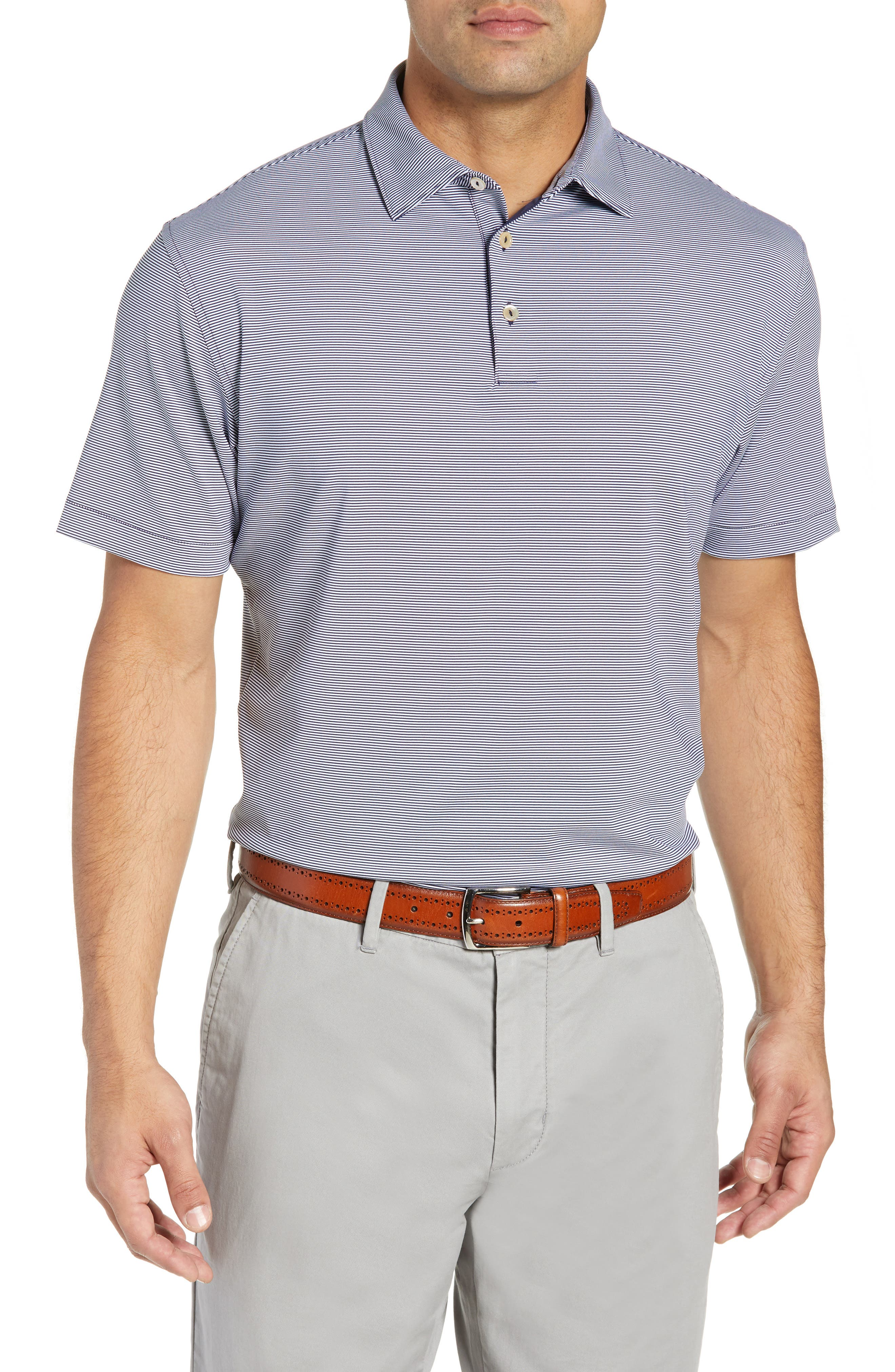 Jubilee Stripe Stretch Jersey Performance Polo,                         Main,                         color, BLUE