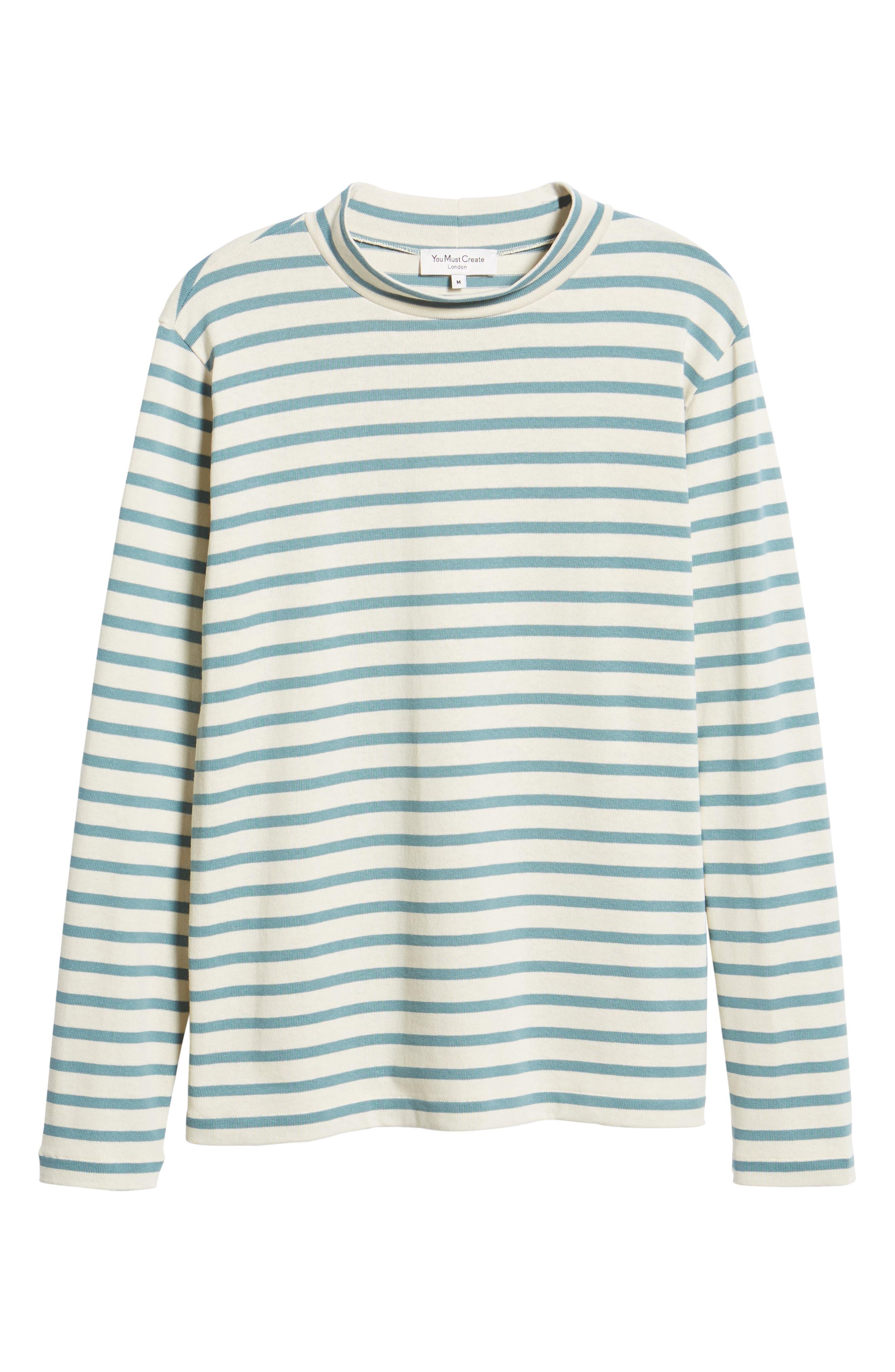 Striped Mock Neck T-Shirt,                             Alternate thumbnail 6, color,                             900