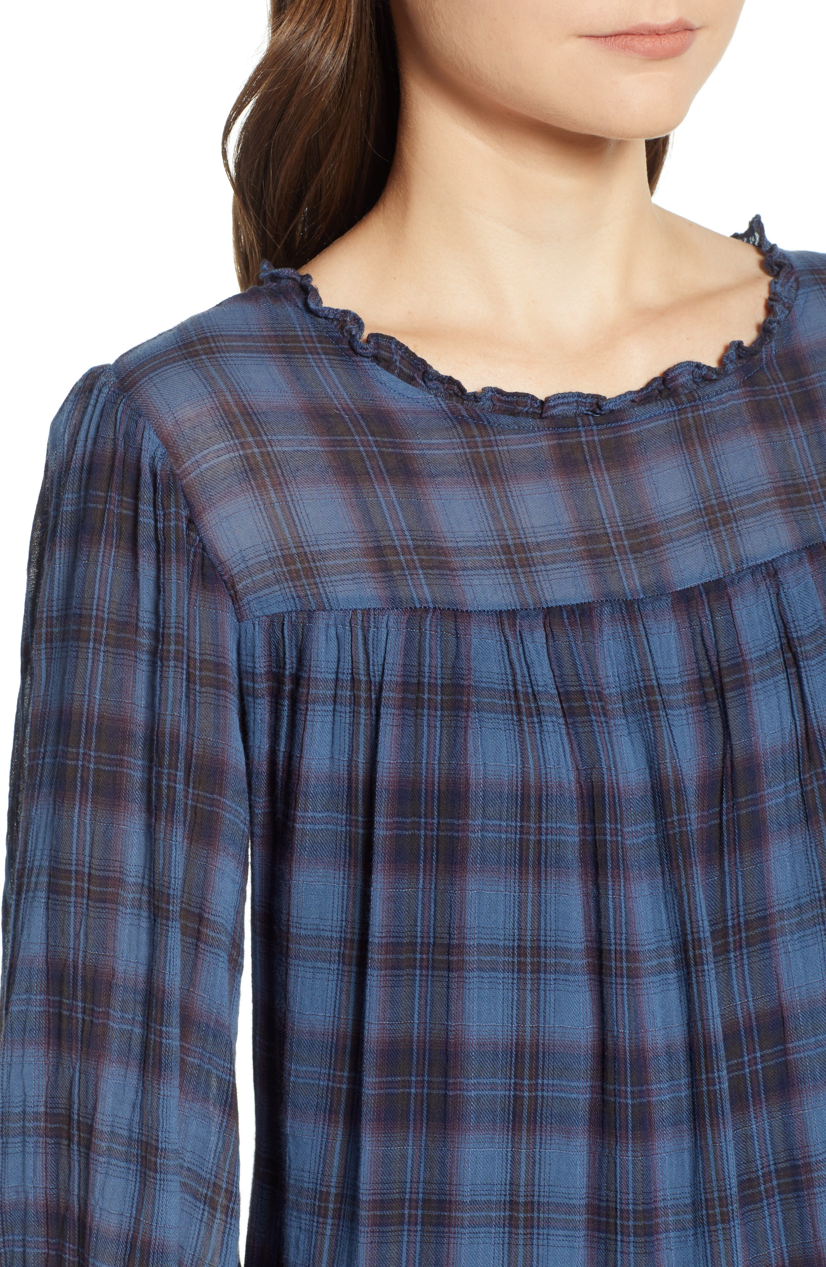 Soft Tiered Plaid Cotton Shift Dress,                             Alternate thumbnail 4, color,                             437