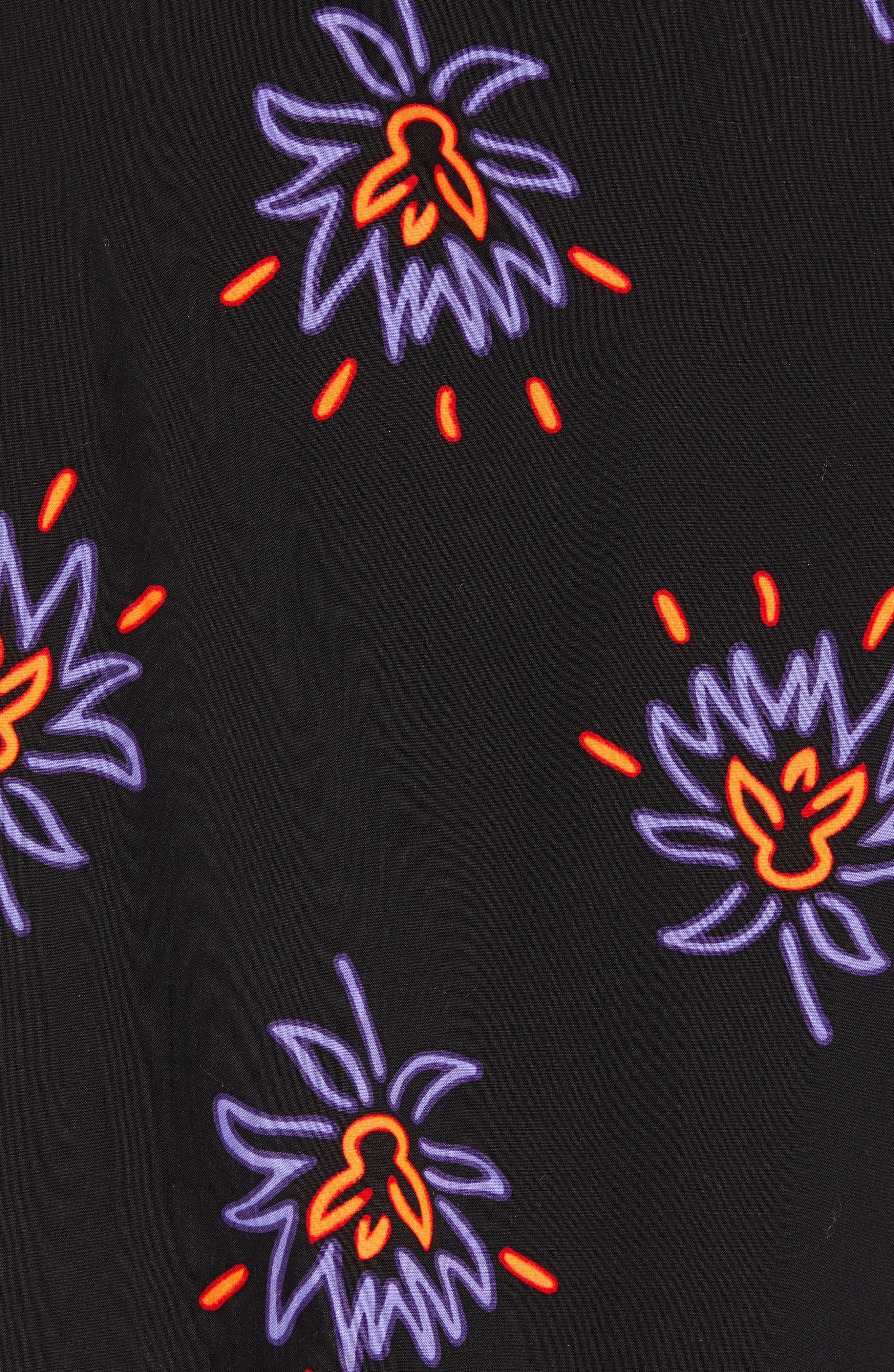Neon Flower Print Woven Shirt,                             Alternate thumbnail 5, color,                             BLACK PURPLE NEON FLORAL