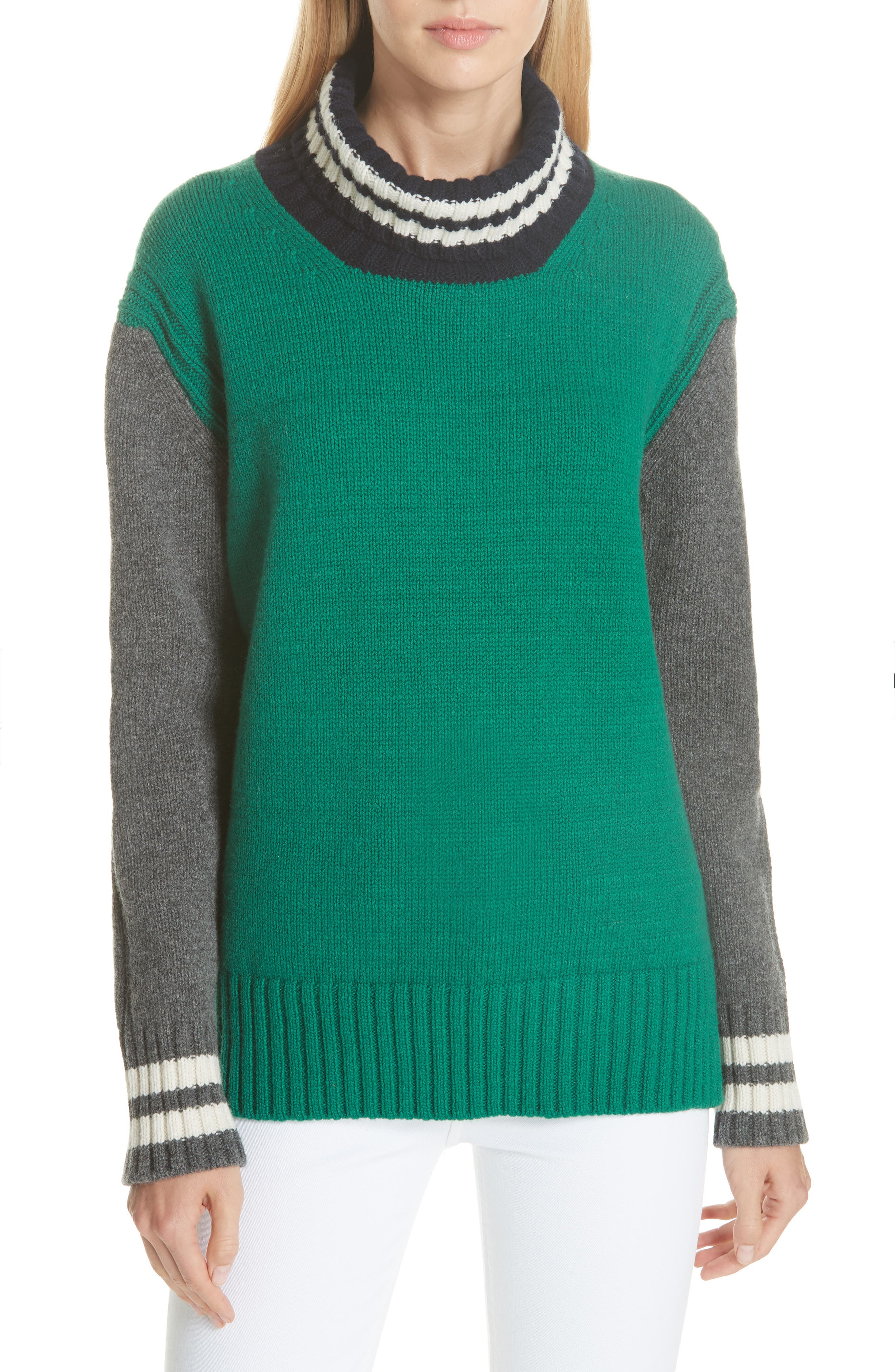 DAUGHTER Fintra Colorblock Wool Tunic Sweater in Green/ Navy