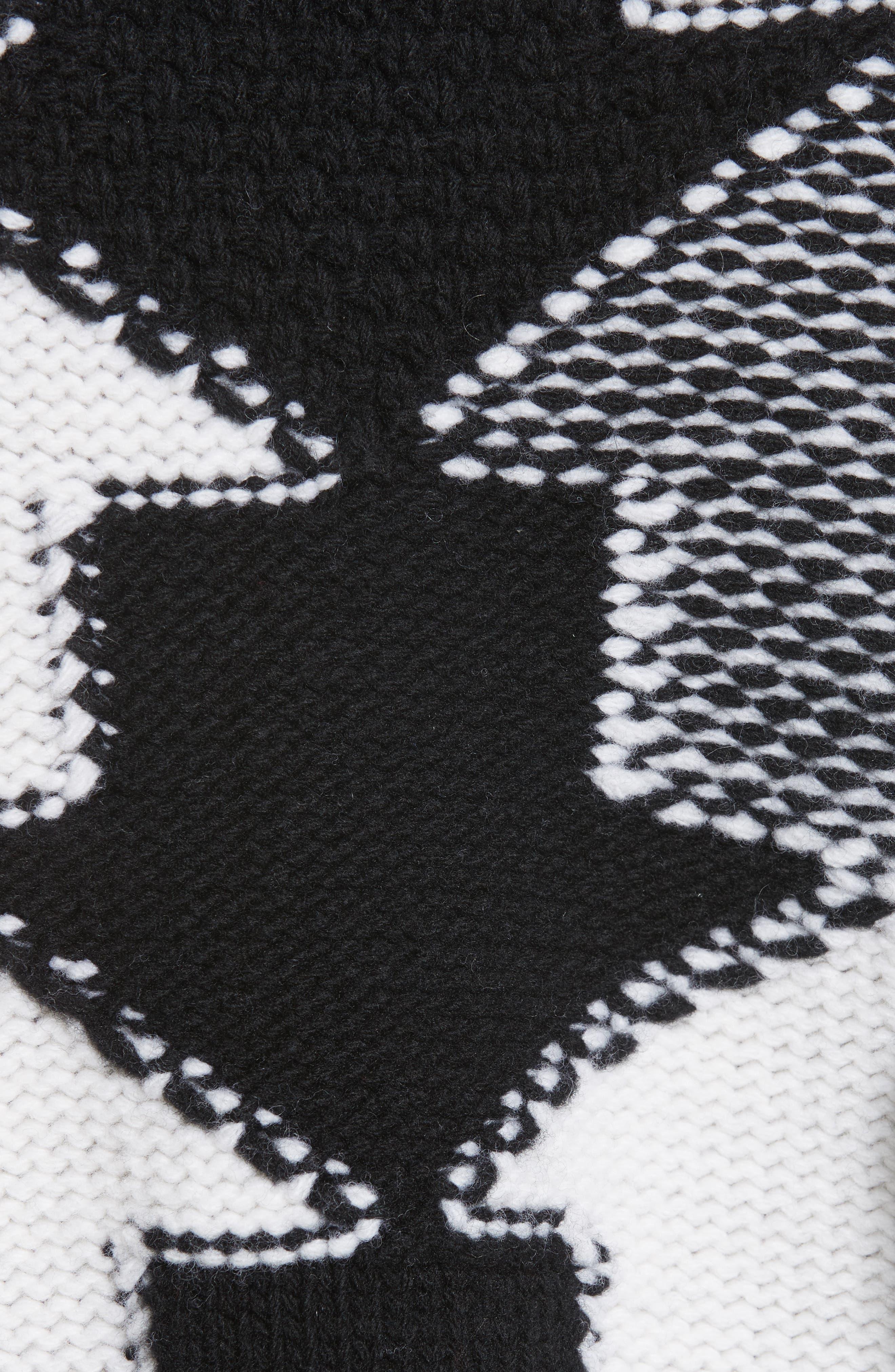 Arrow Intarsia Wool Sweater,                             Alternate thumbnail 5, color,                             001