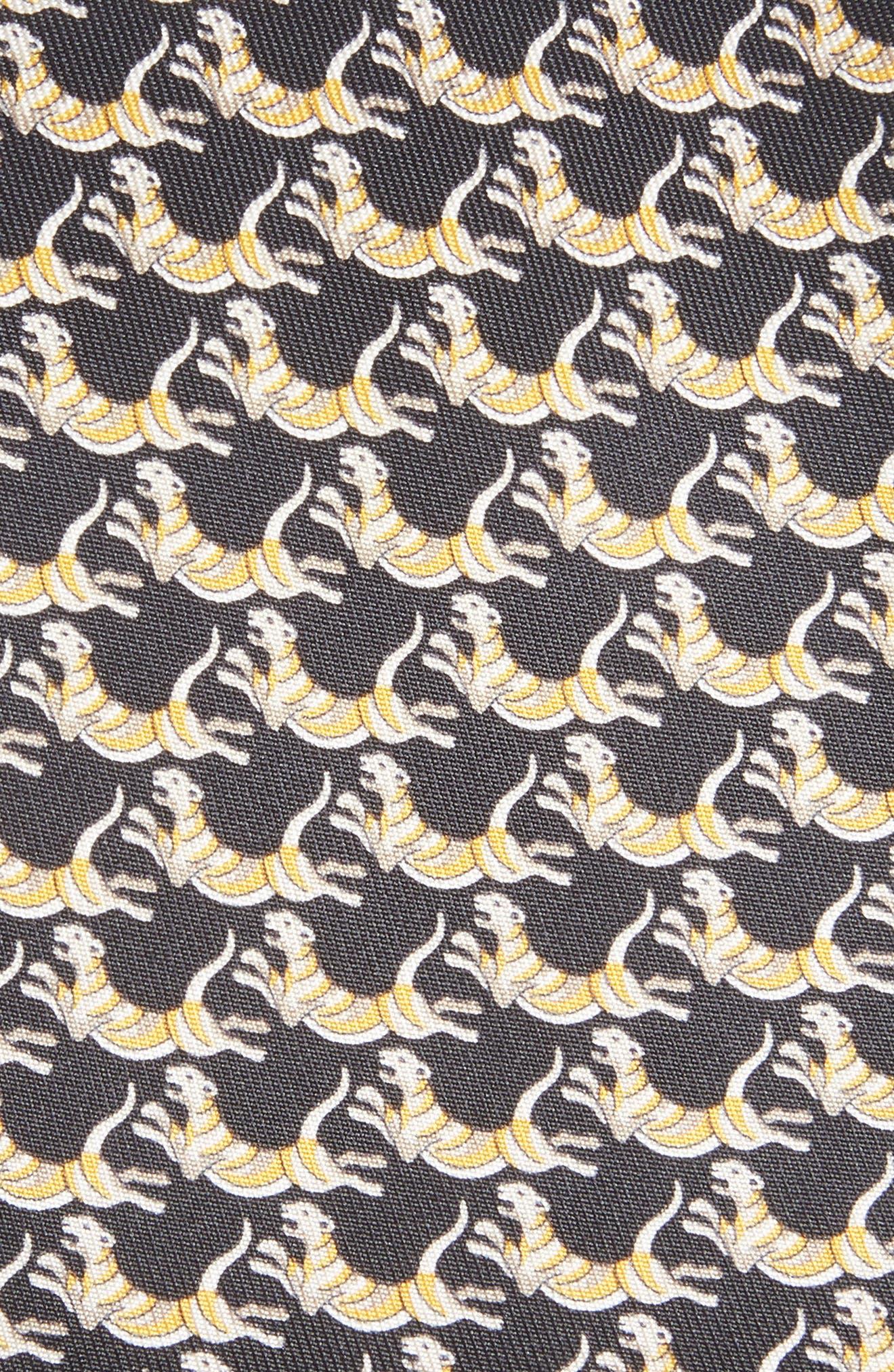 Figre Print Silk Tie,                             Alternate thumbnail 2, color,                             BLACK