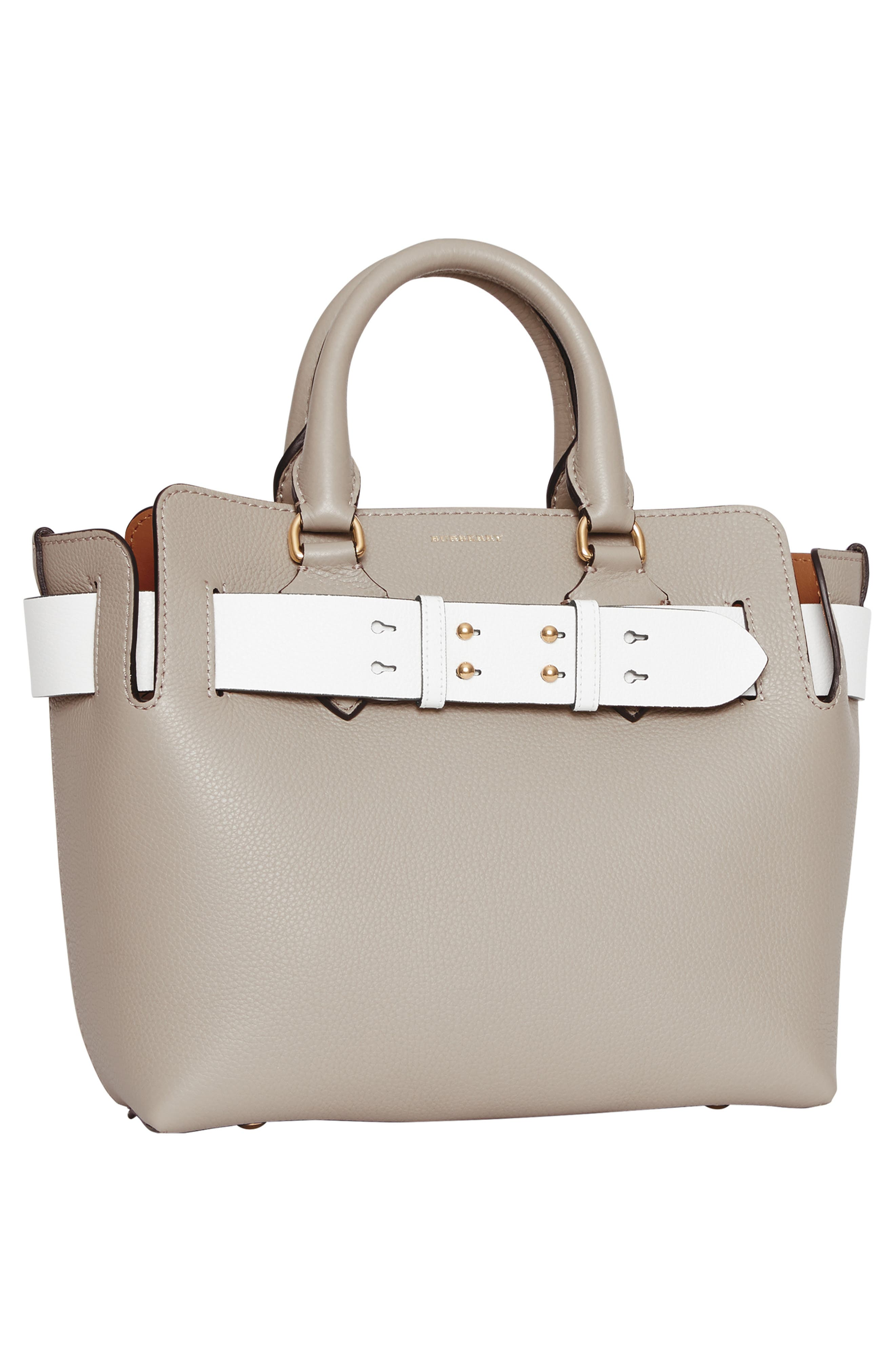 Small Contrast Belt Leather Tote,                             Alternate thumbnail 7, color,                             MINERAL GREY