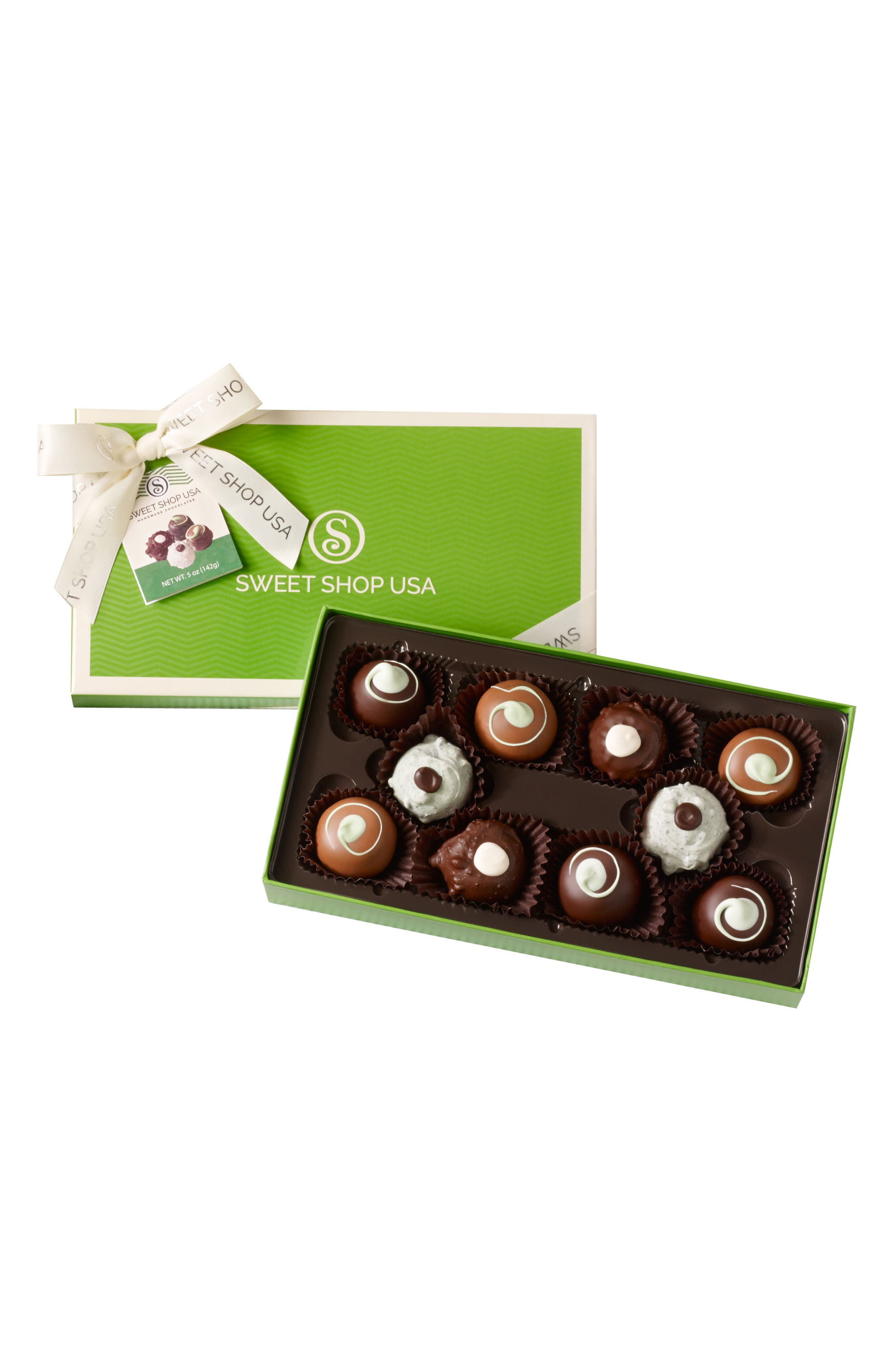 10 Piece Assorted Truffles Everyday Box,                         Main,                         color, GREEN