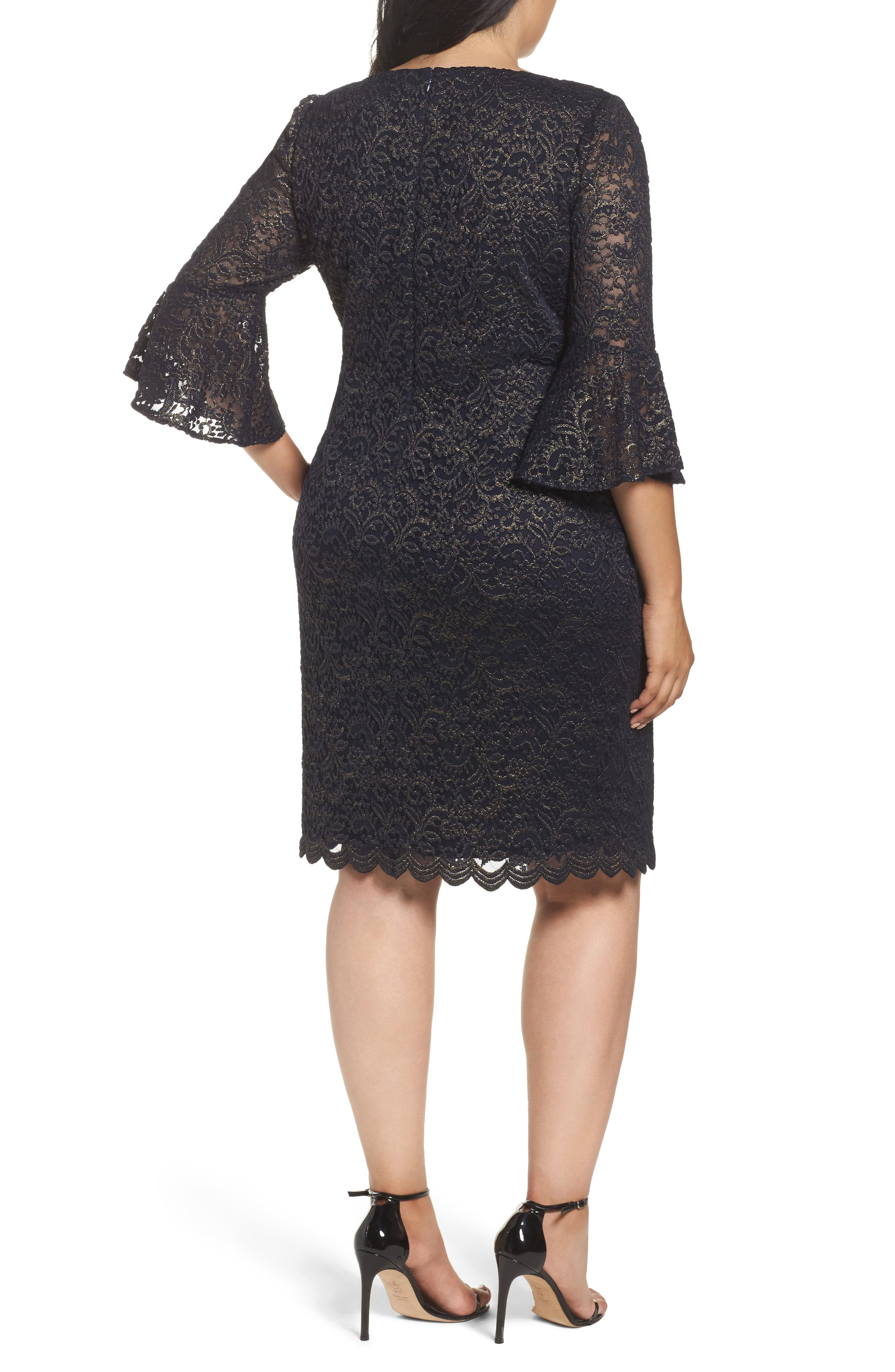 Metallic Lace Sheath Dress,                             Alternate thumbnail 2, color,
