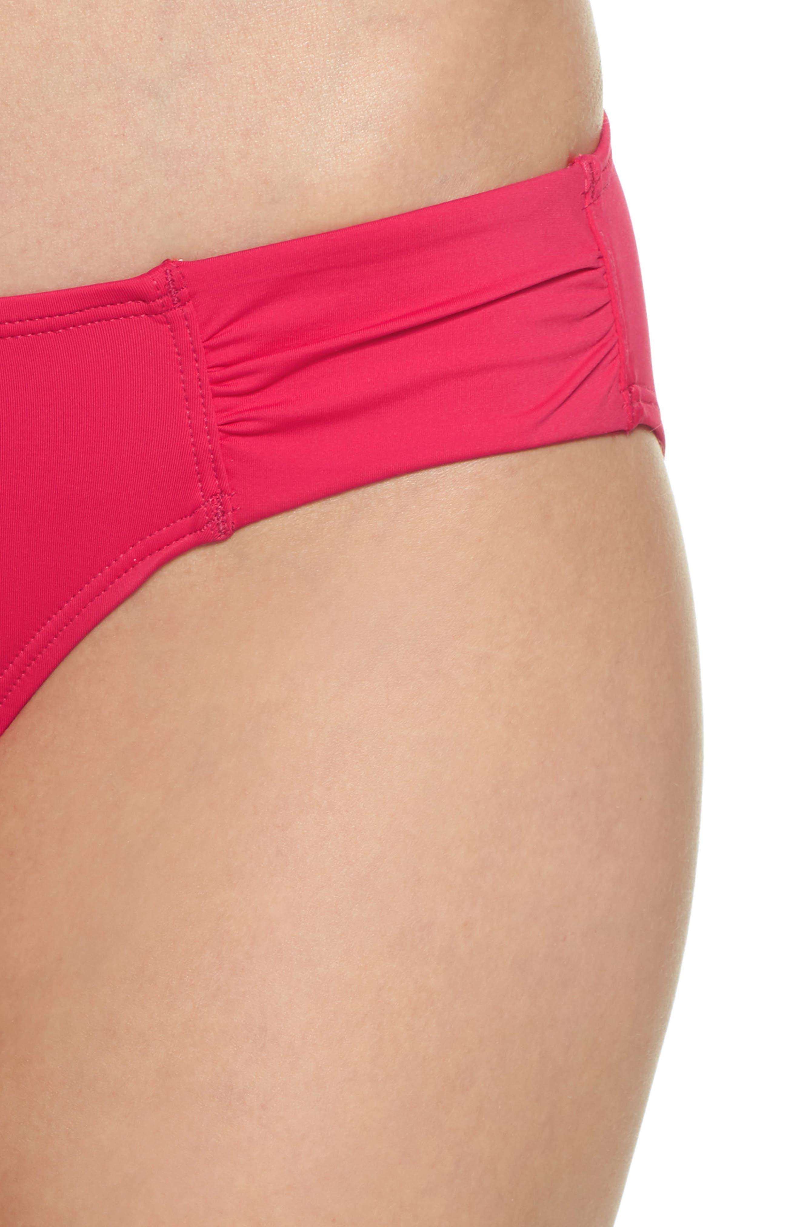 Side Shirred Hipster Bikini Bottoms,                             Alternate thumbnail 4, color,                             CERISE