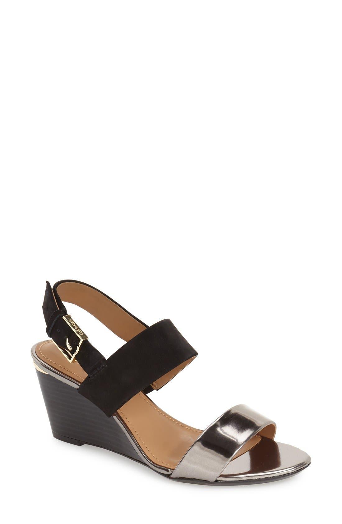 'Pearla' Wedge Sandal,                         Main,                         color, 001