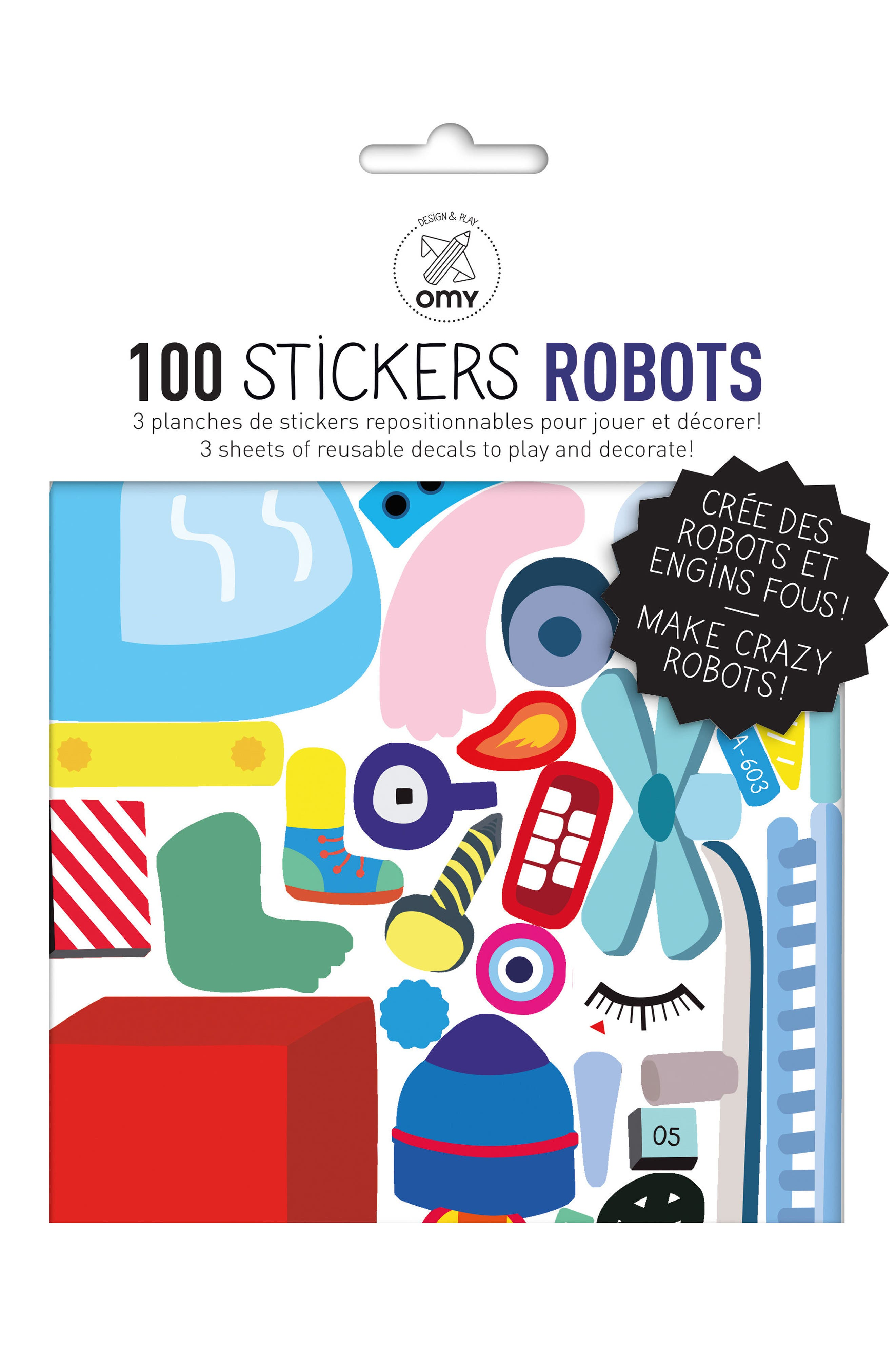 Robot Wall Stickers,                             Alternate thumbnail 2, color,                             100