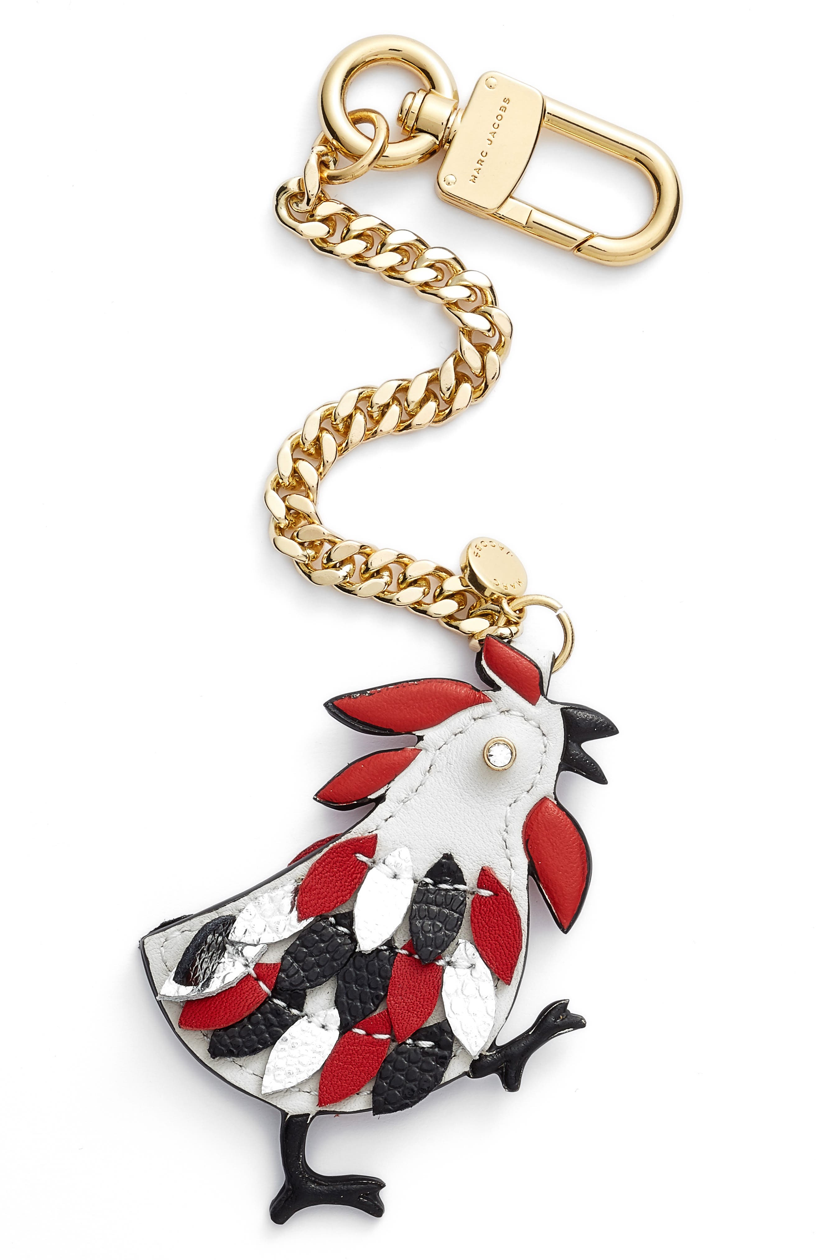 Rooster Leather Bag Charm, Main, color, 059