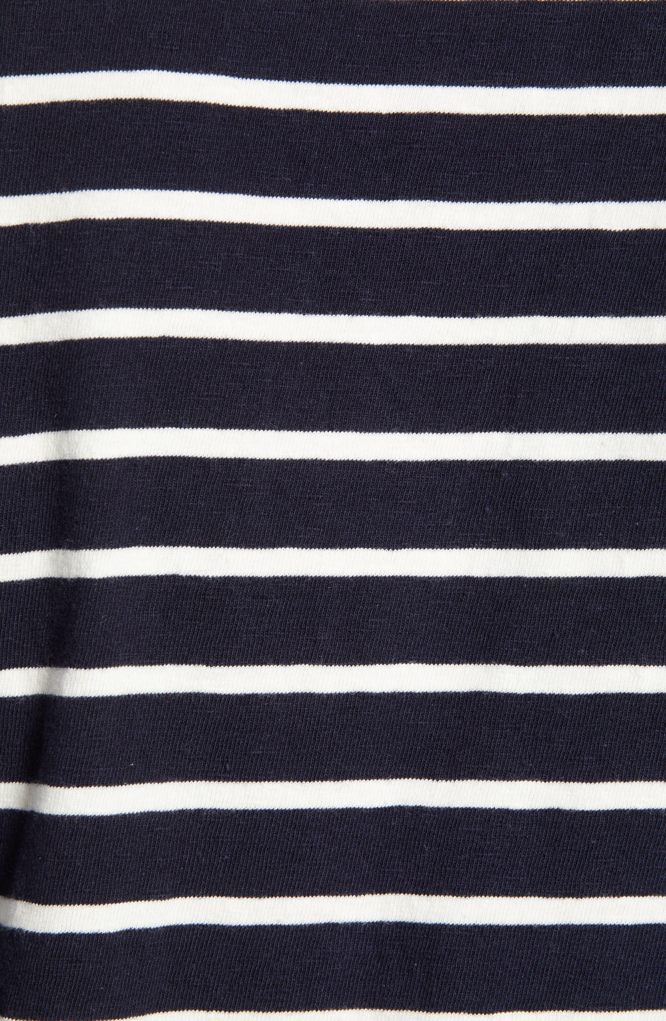 Stripe Long Sleeve T-Shirt,                             Alternate thumbnail 5, color,                             NAVY NIGHT ECRU STRIPE