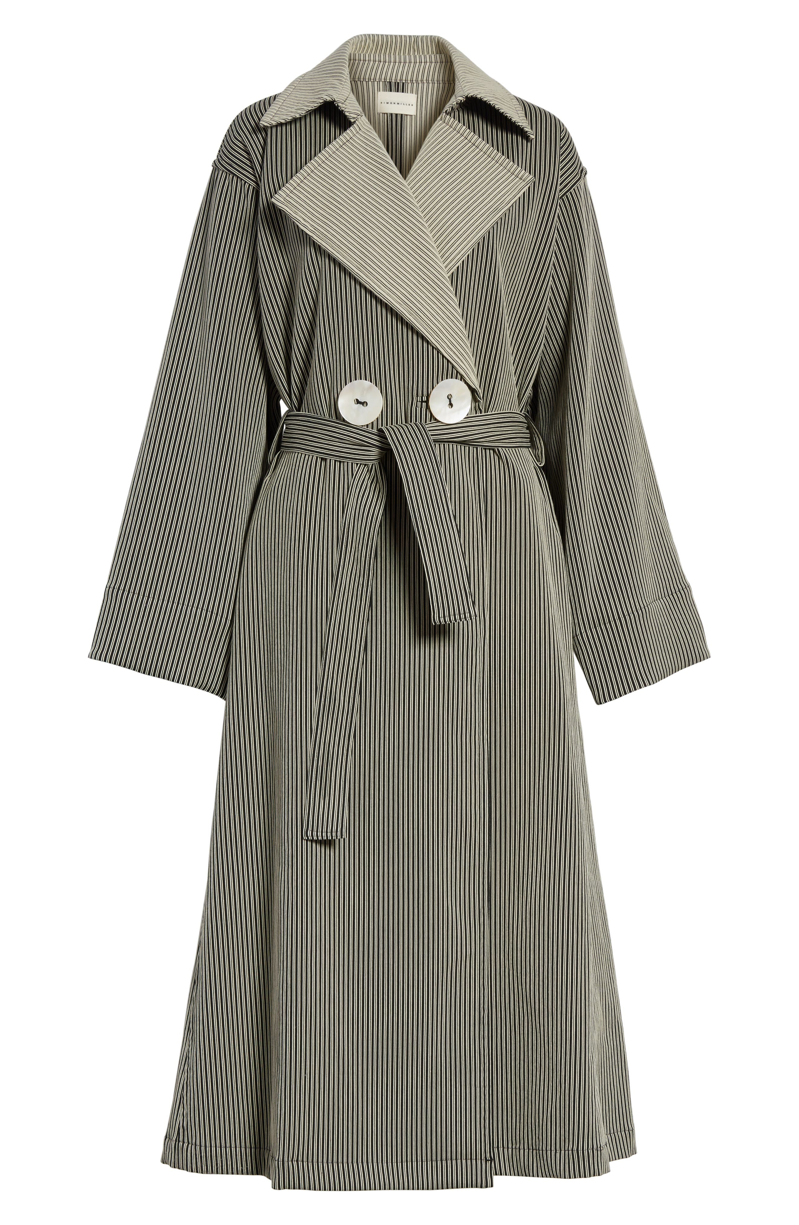 Casco Stretch Pinstripe Trench Coat,                             Alternate thumbnail 5, color,
