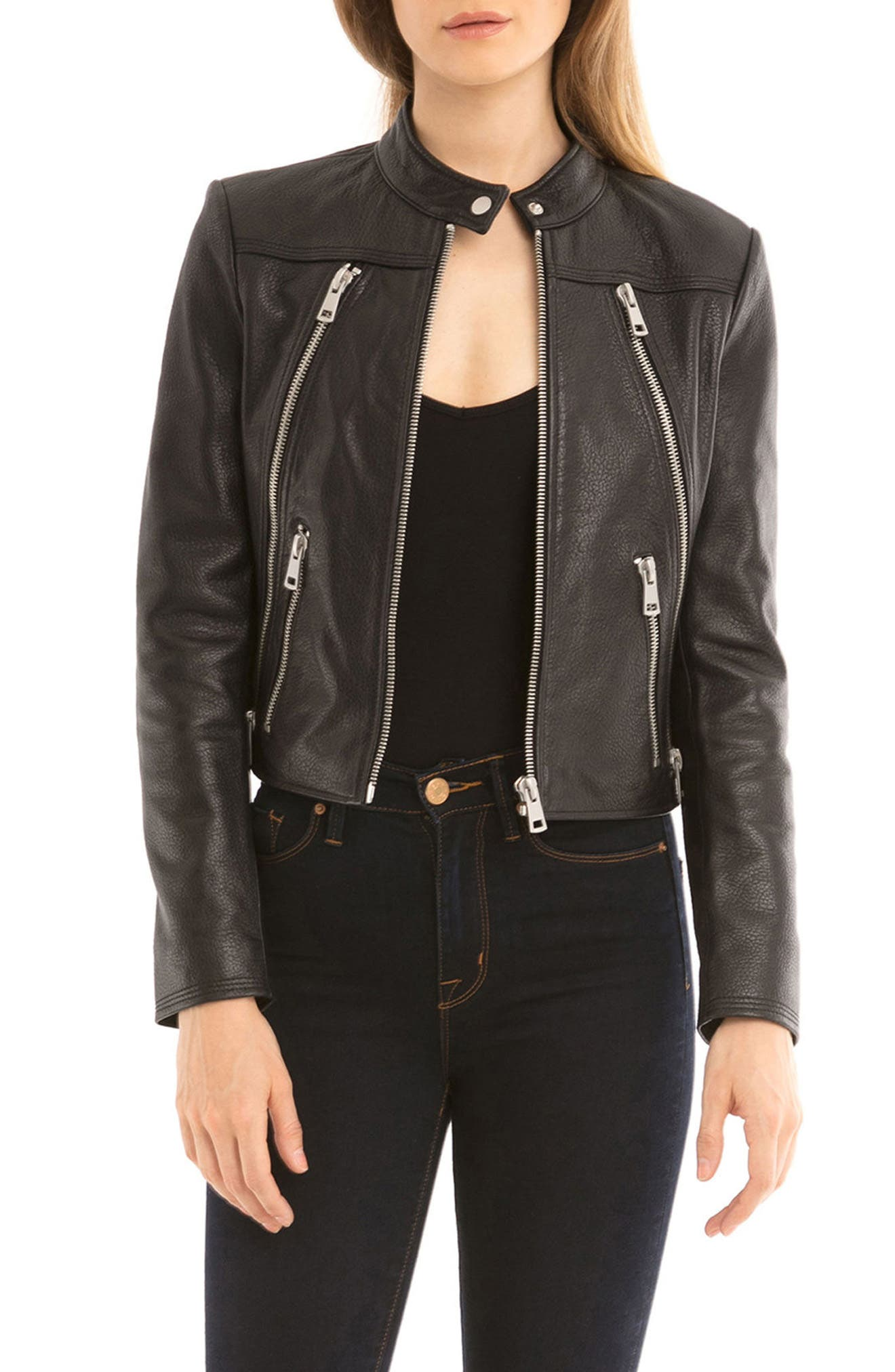 Bagatelle Textured Leather Jacket,                         Main,                         color, 001