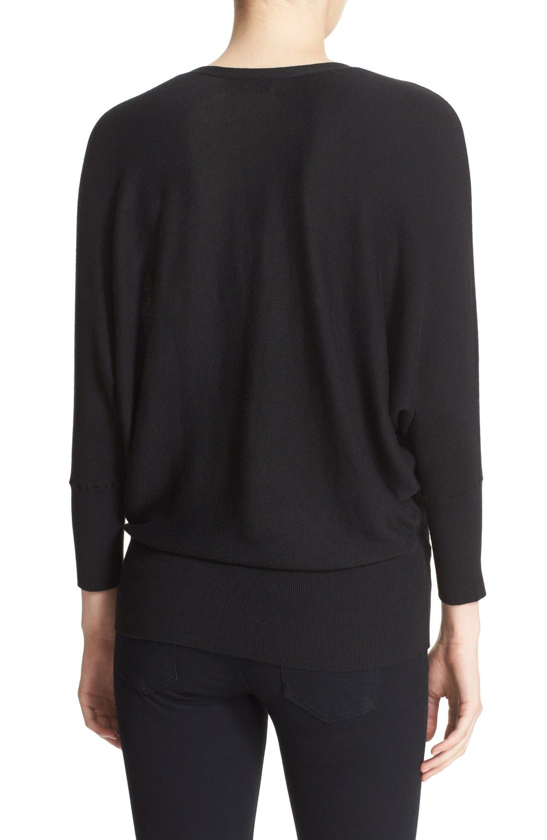 MILLY,                             Convertible Wrap Sweater,                             Alternate thumbnail 5, color,                             001