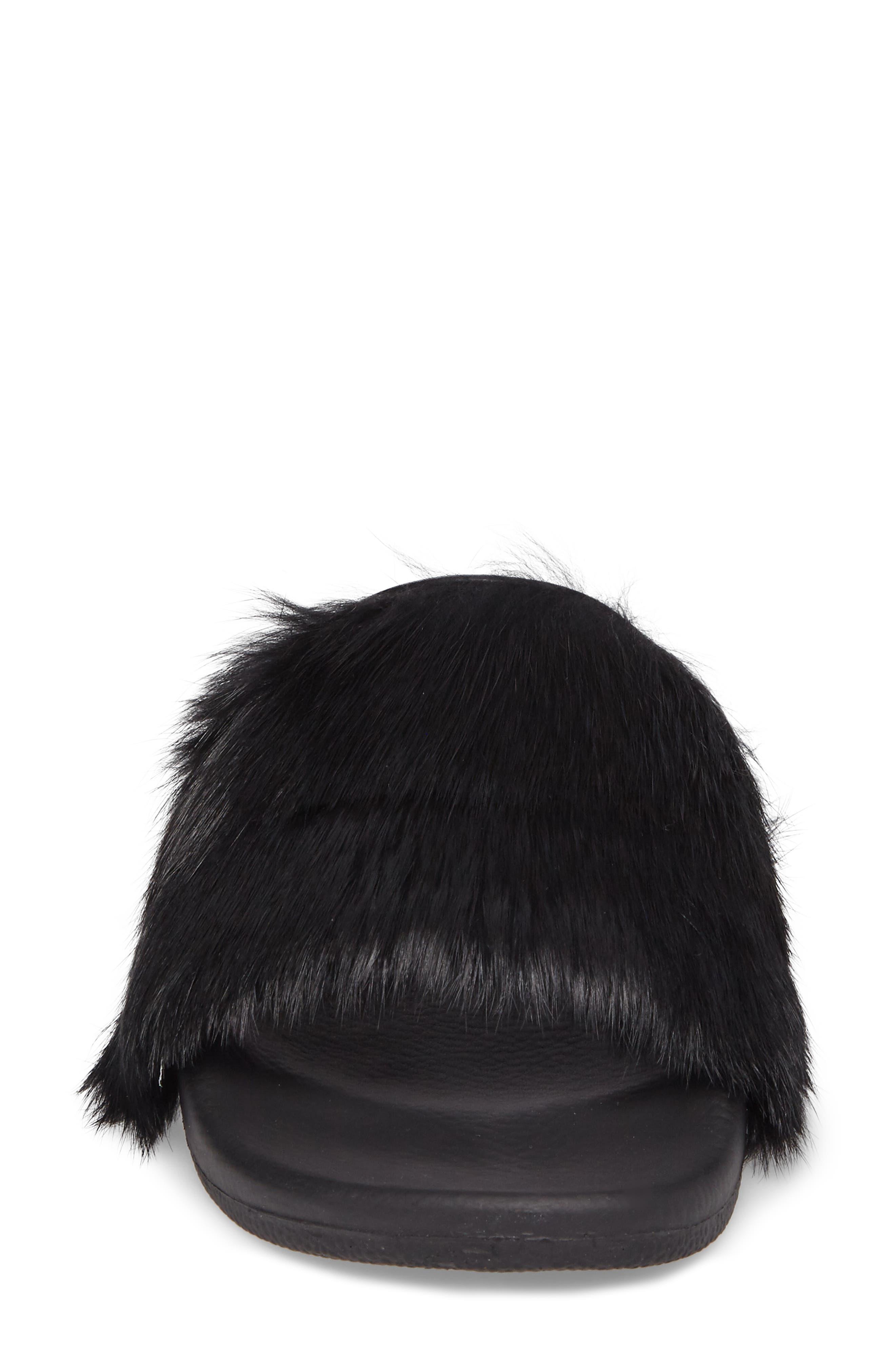 Sammi Genuine Fur Slide Sandal,                             Alternate thumbnail 4, color,                             001