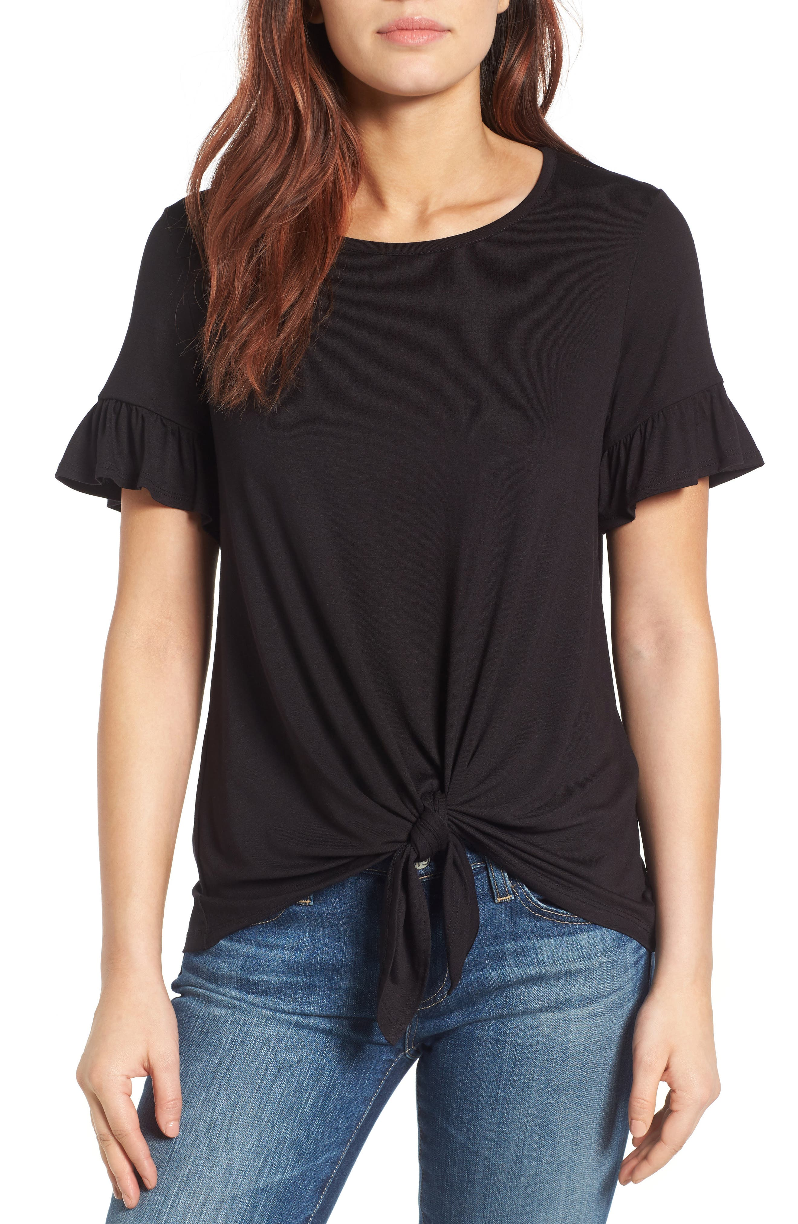 Bell Sleeve Tie Front Top,                             Main thumbnail 1, color,                             001