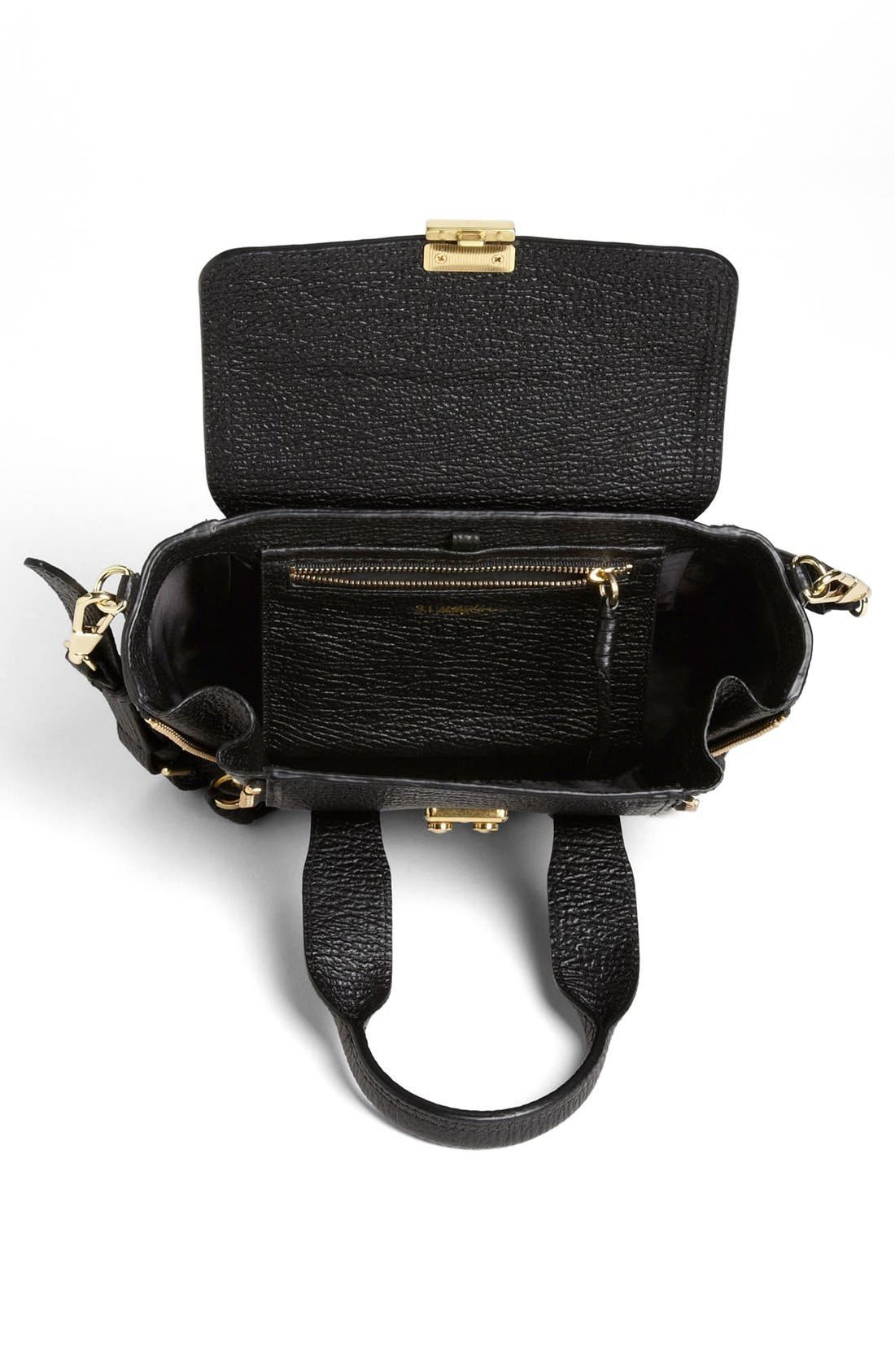 'Mini Pashli' Leather Satchel,                             Alternate thumbnail 4, color,                             BLACK/ GOLD HDWR