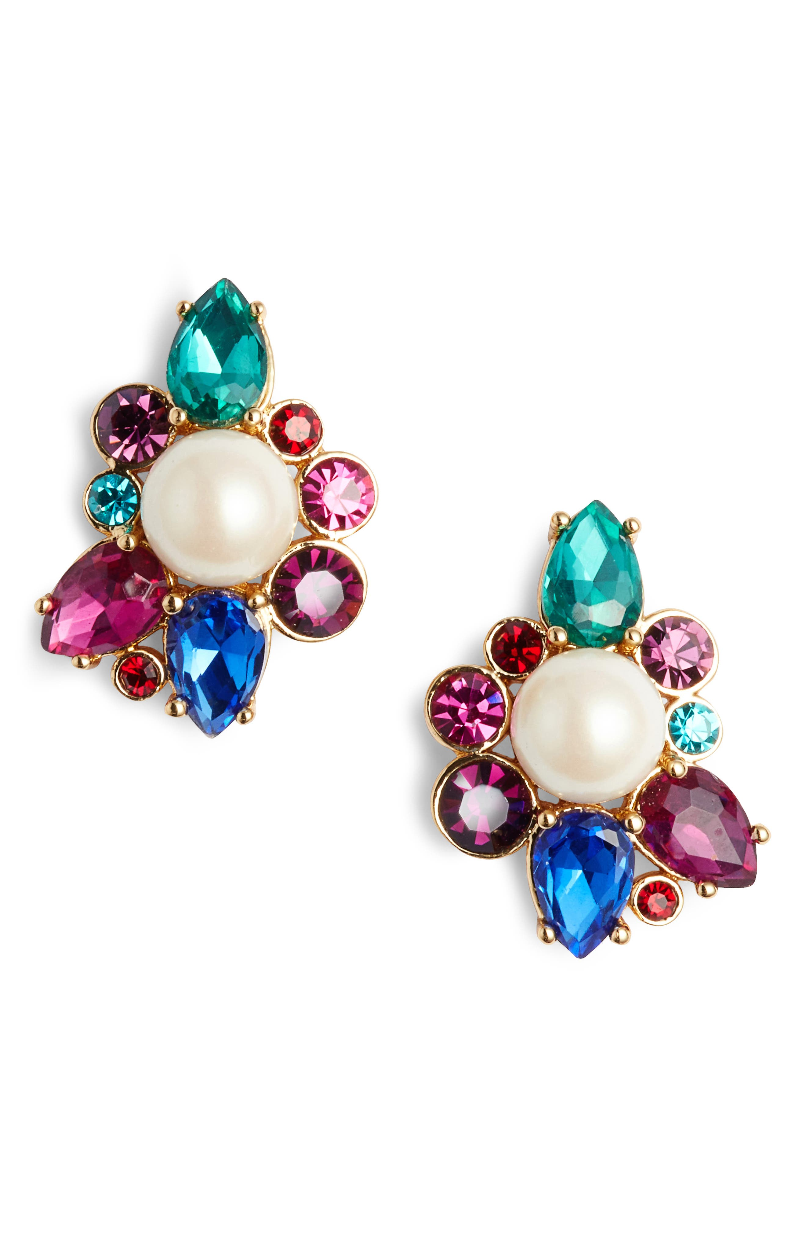 flying colors pearl cluster earrings,                             Main thumbnail 3, color,