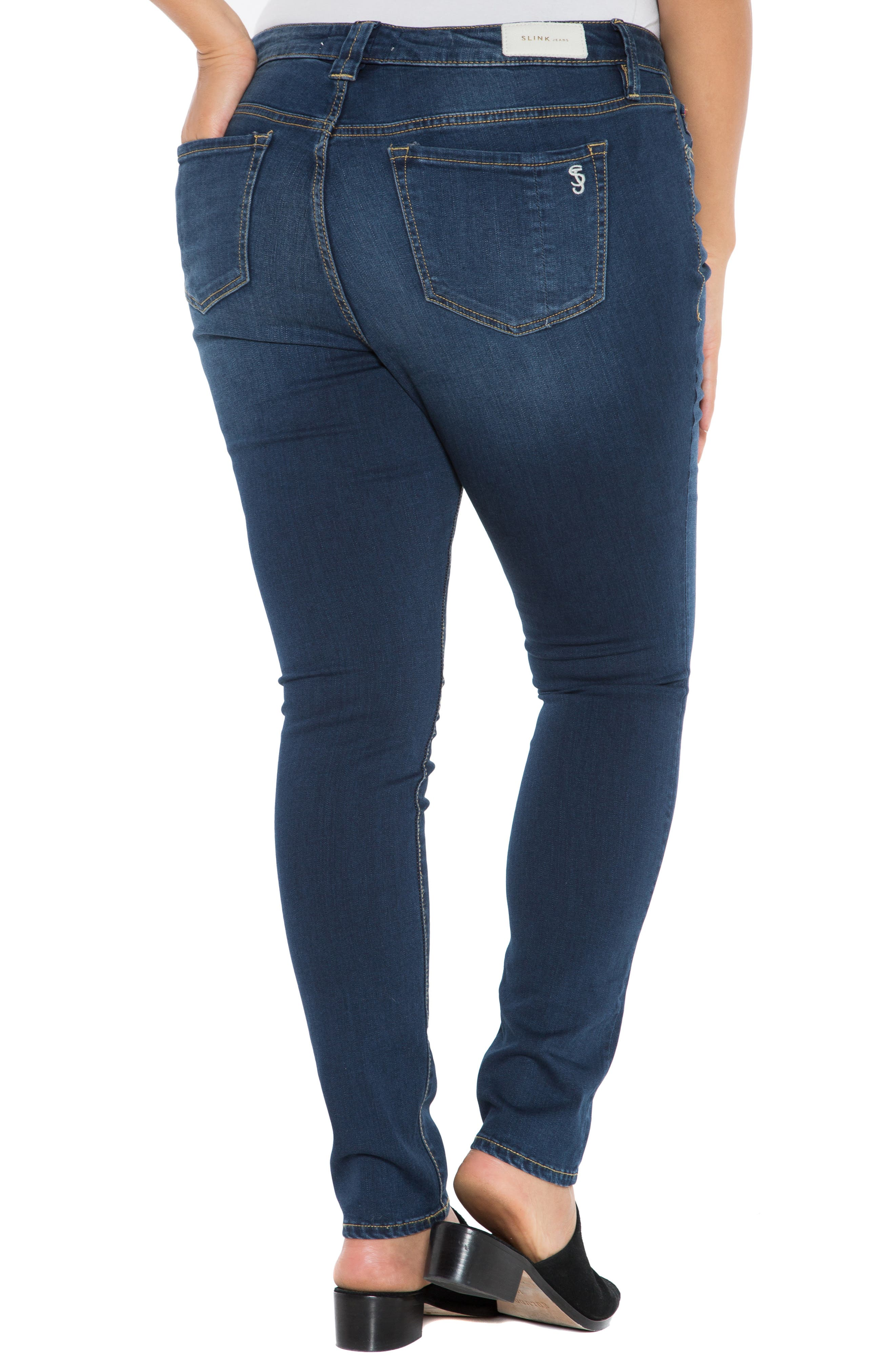 'The Skinny' Stretch Denim Jeans,                             Alternate thumbnail 2, color,                             AMBER