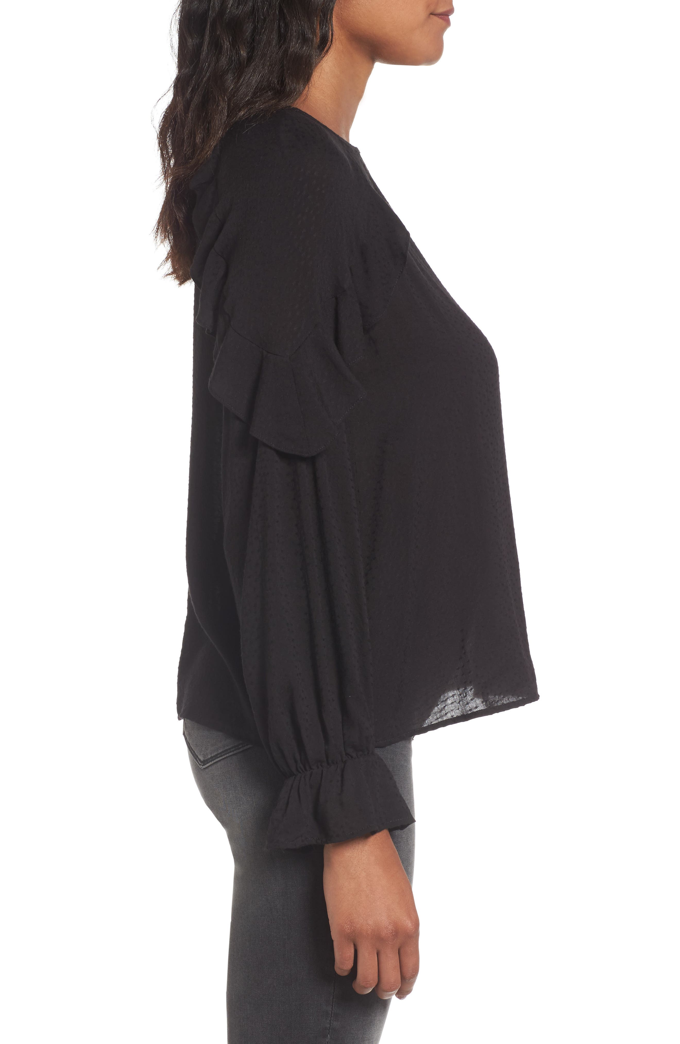 Textured Ruffle Blouse,                             Alternate thumbnail 3, color,                             001