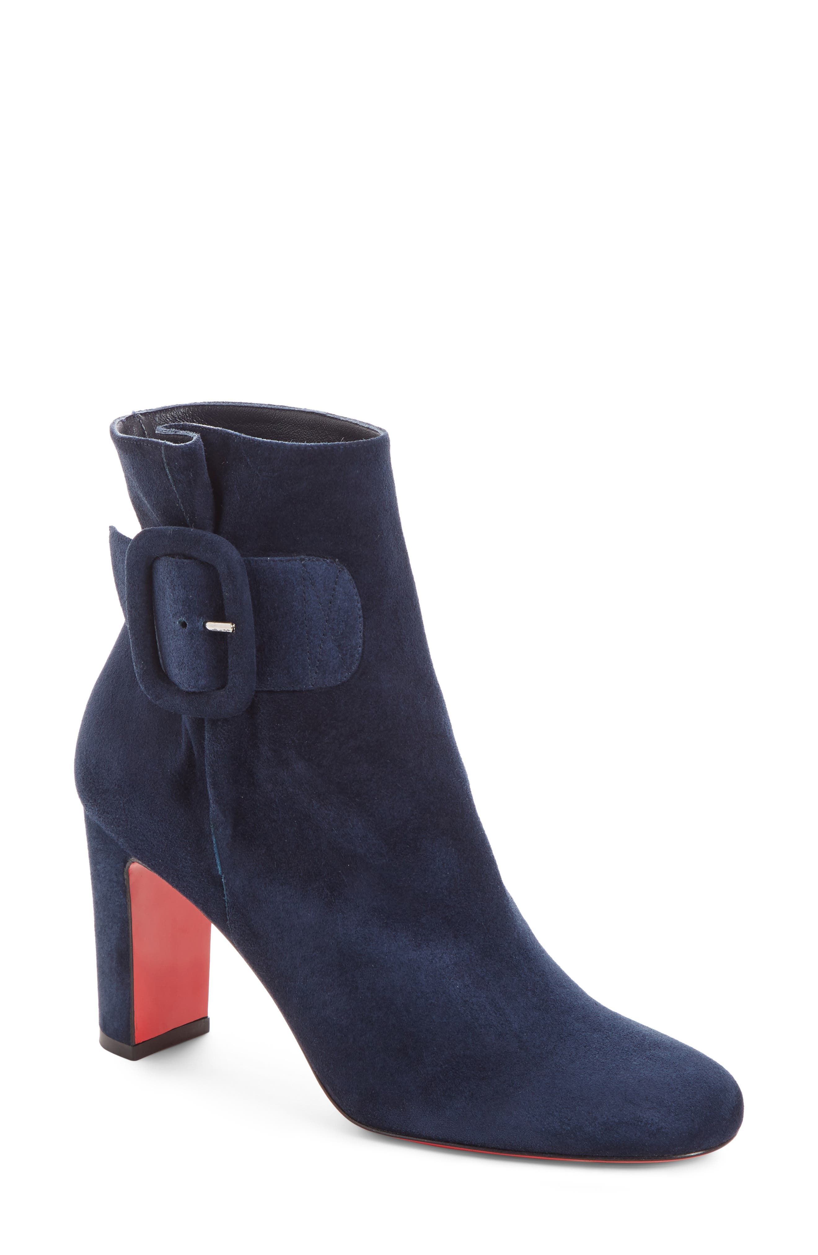 Tres Olivia Buckle Bootie,                             Main thumbnail 1, color,                             MARINE SUEDE
